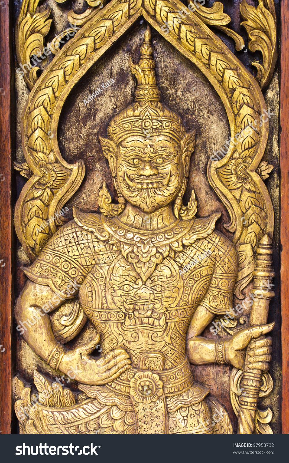 Traditional Thai style art on temple wall,Thailand.Generality in ...