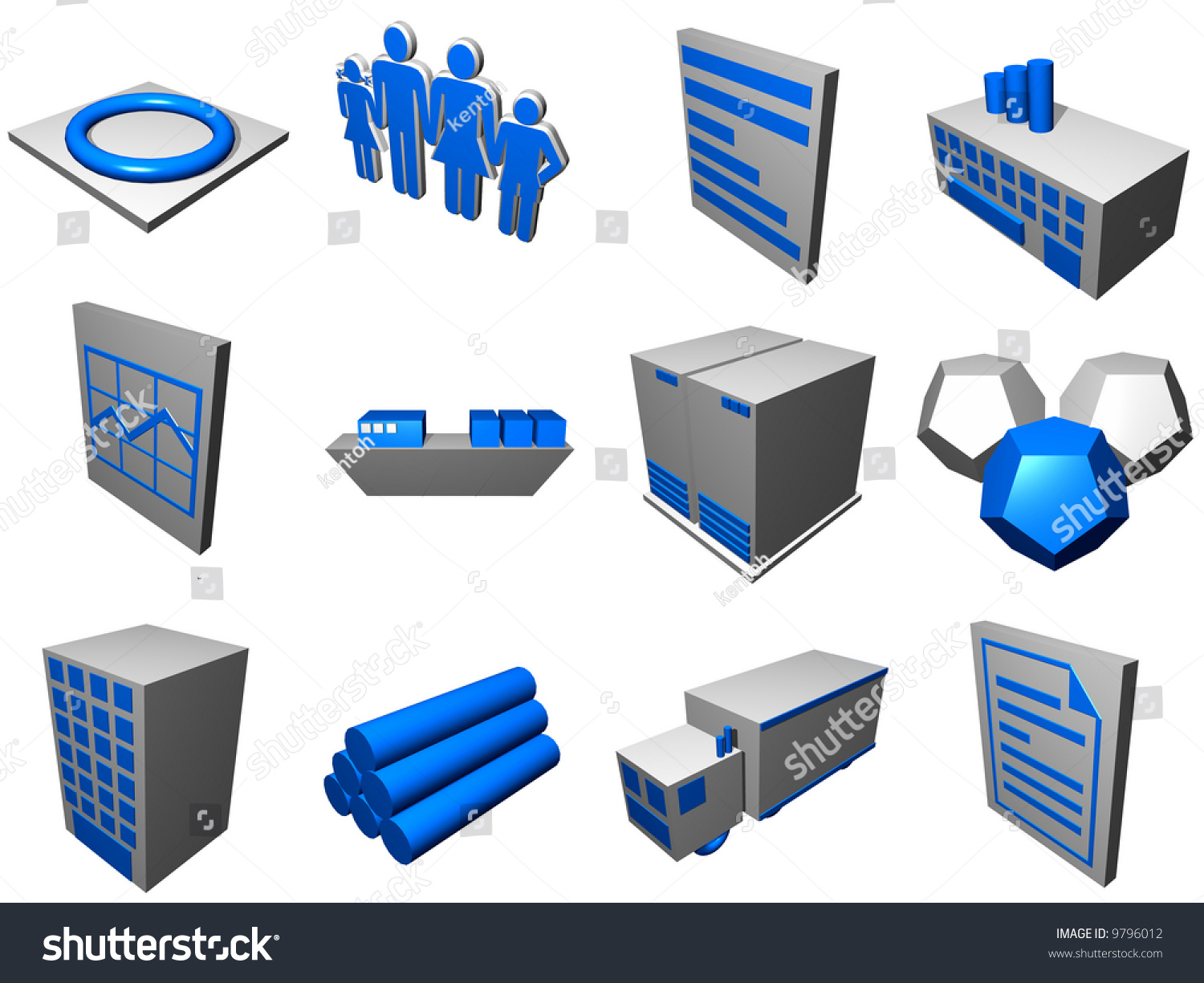 Logistic Supply Chain Diagram Objects Symbols Stock Illustration