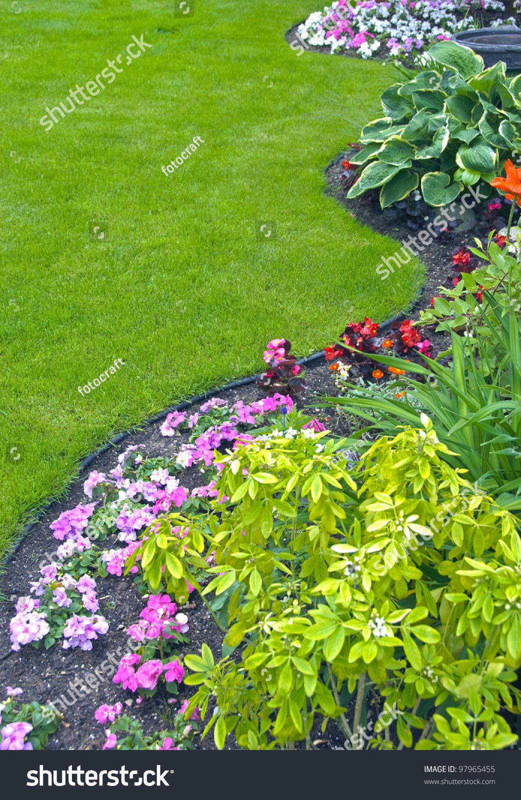 Landscaped Yard Garden Beautiful Landscaped Yard Stock Photo