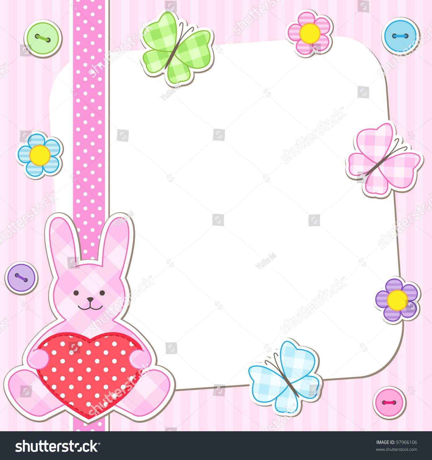 Rabbit Cards Pink Girl Birthday Card Stock Vector (Royalty Free ...