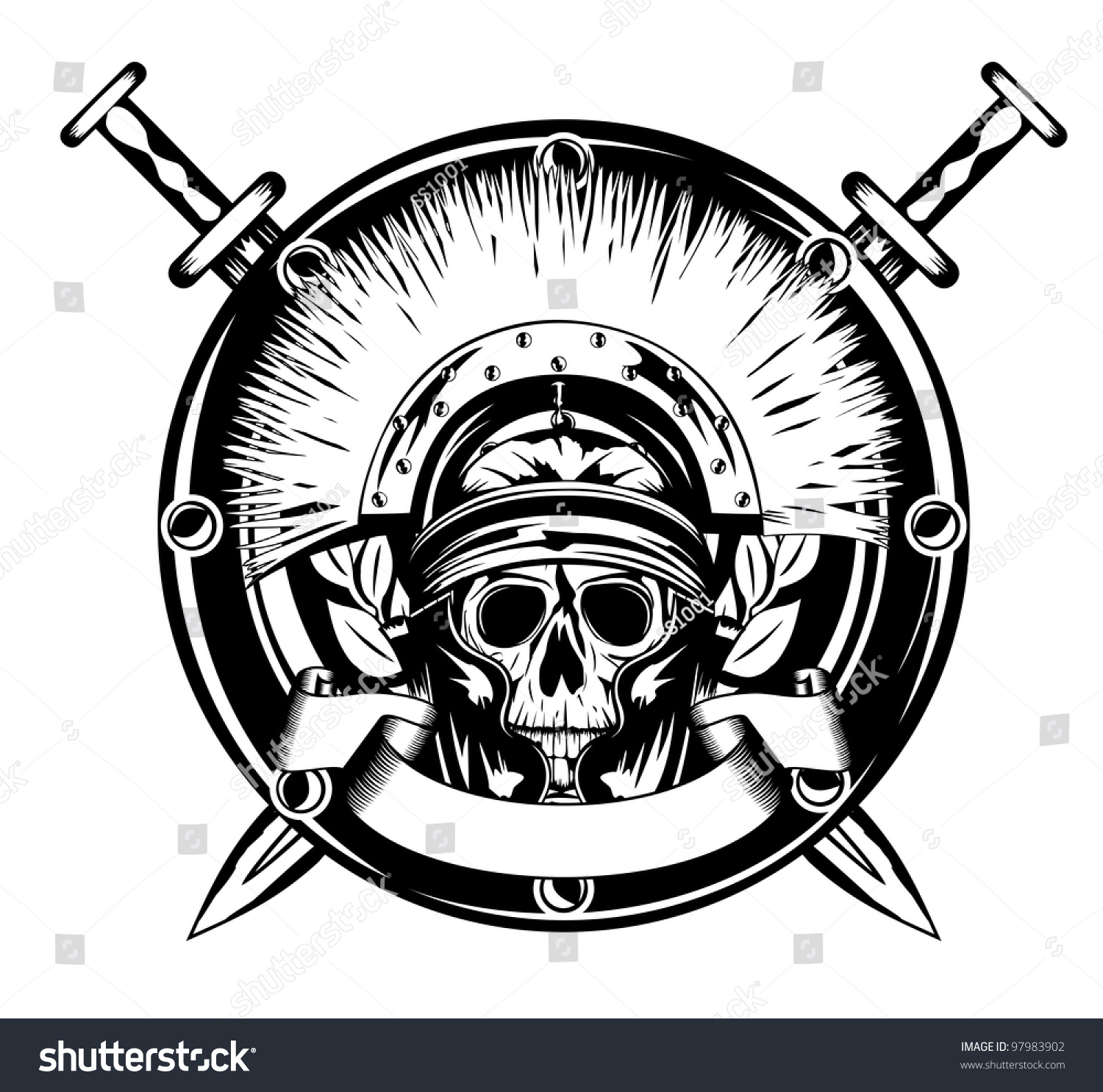 Vector image skull in helmet and shield and crossed sword for Crossed swords tattoo