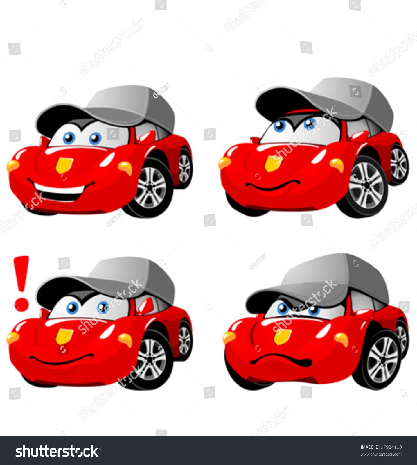 funny cartoon car emotions stock vector 97984100 shutterstock. Black Bedroom Furniture Sets. Home Design Ideas