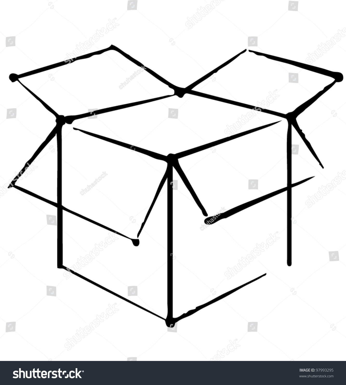 Open Box Icon Isolated On White Stock Vector 97993295