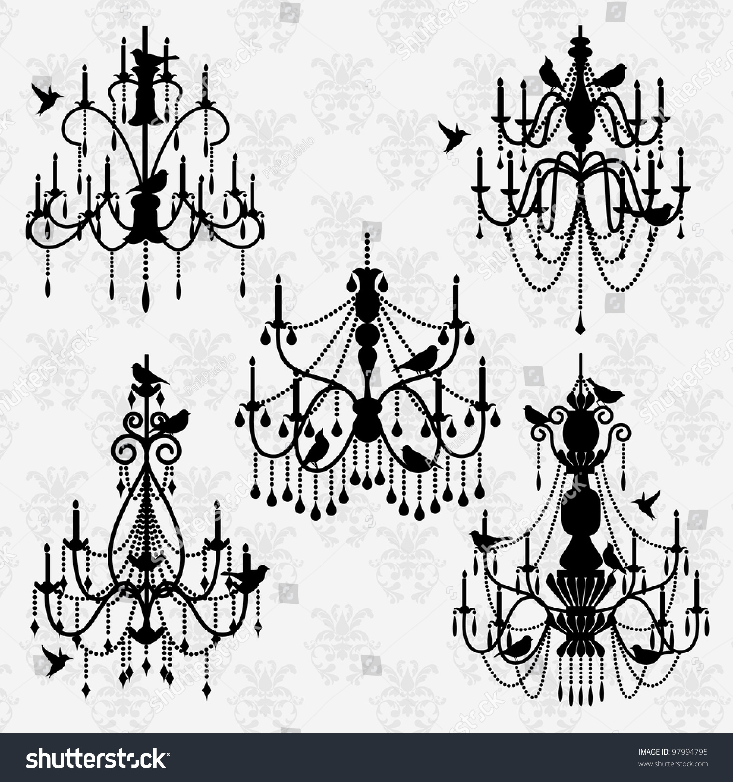 Vector set chandelier vectors birds stock vector 97994795 vector set of chandelier vectors with birds arubaitofo Image collections