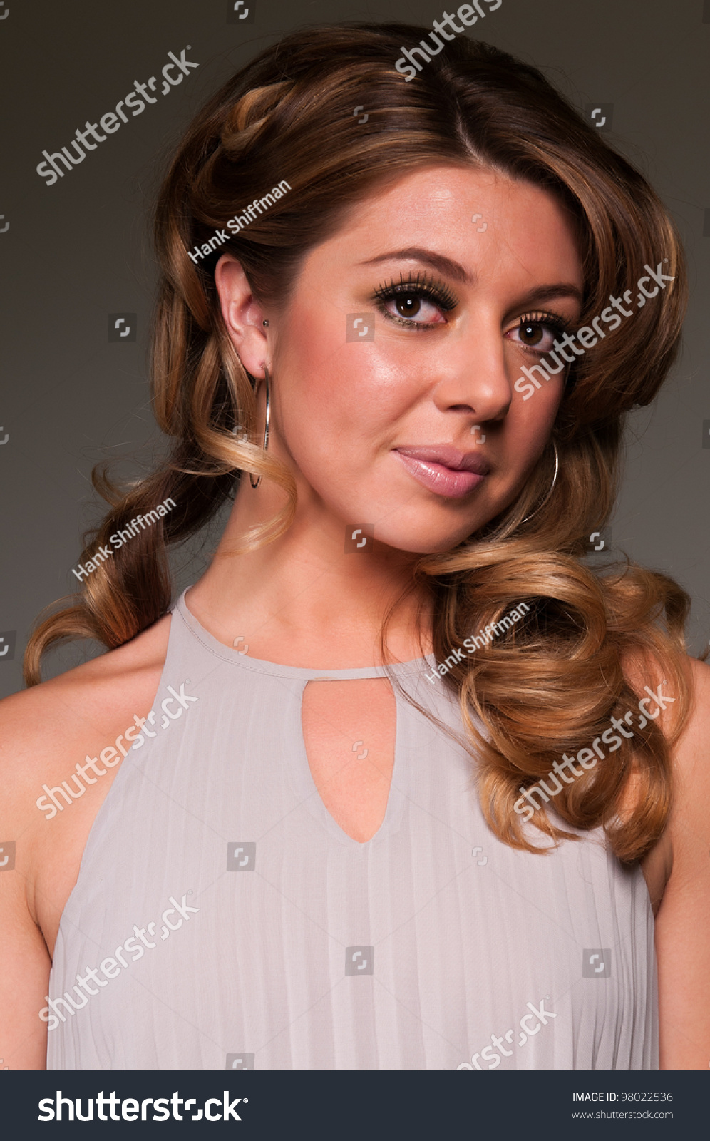 Pretty Hispanic Woman Flowing Dress Stock Photo 98022536