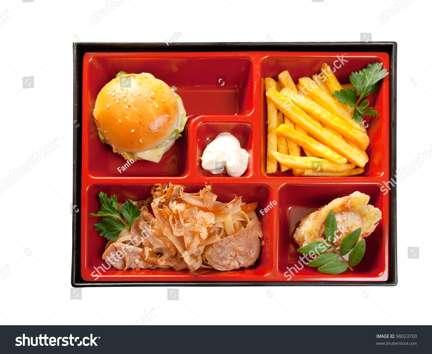japanese bento lunch box of fast food with with pork sandwich and vegetable stock photo. Black Bedroom Furniture Sets. Home Design Ideas