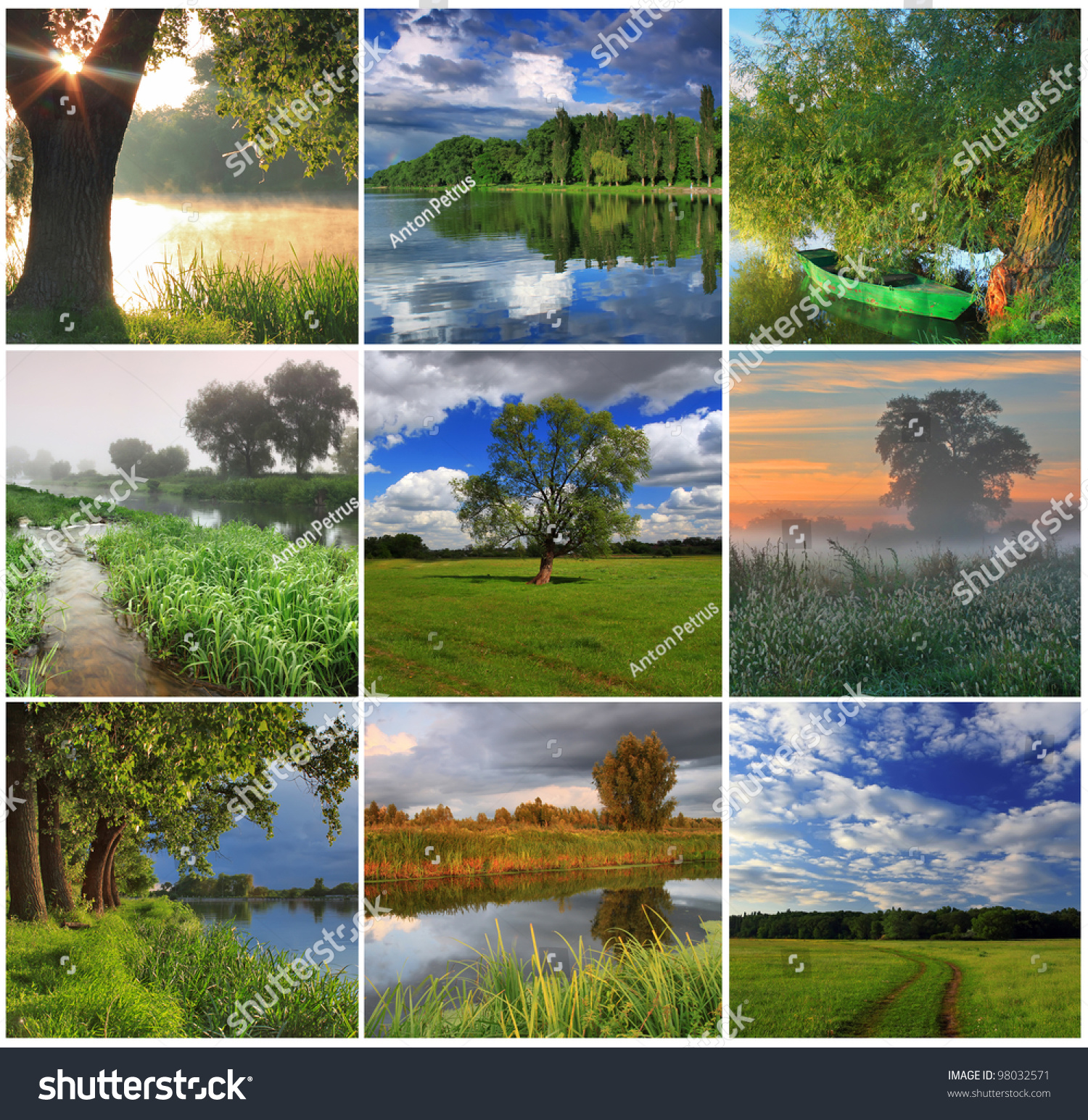 Collage Spring Landscapes Stock Photo 98032571
