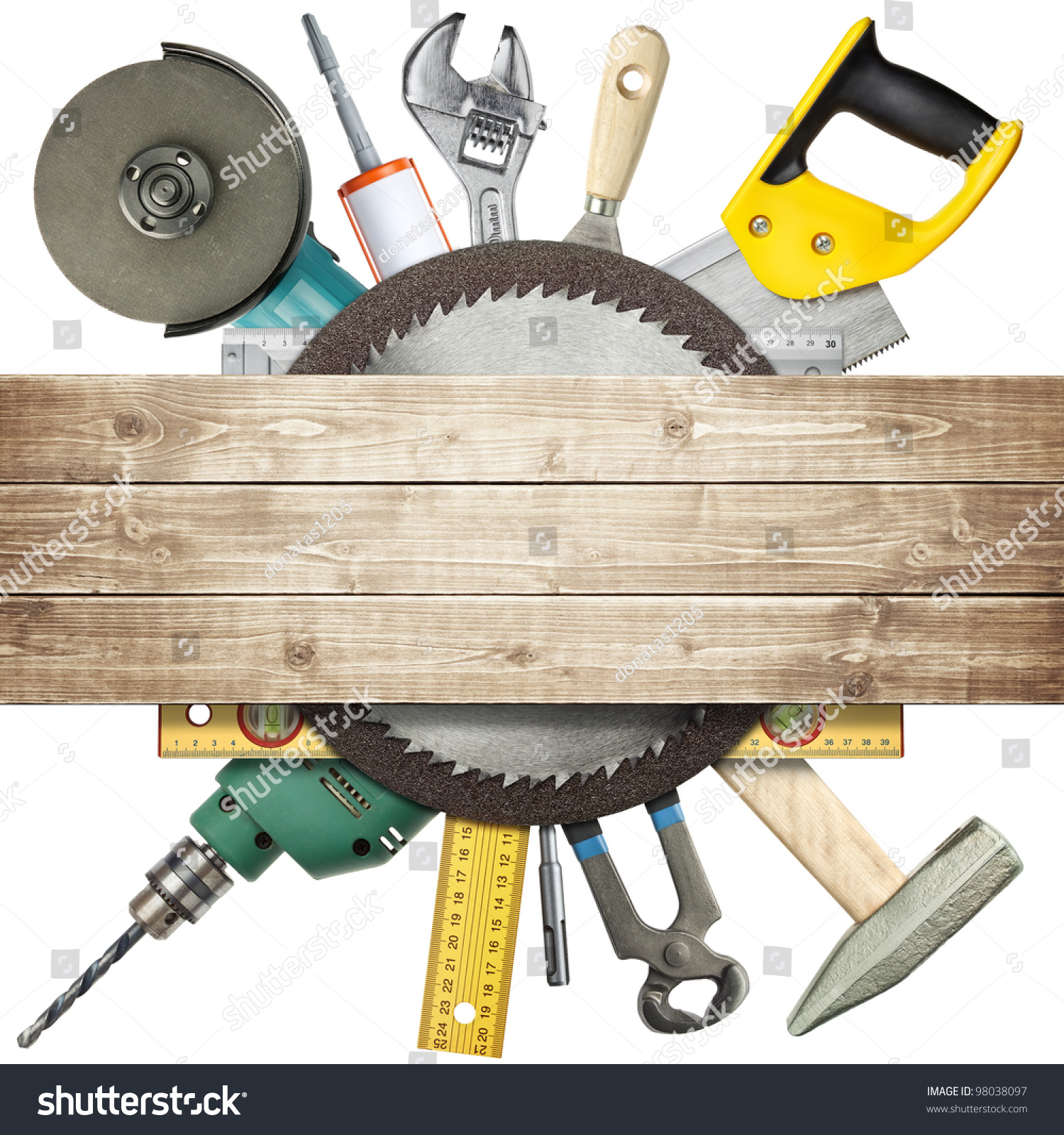 Carpentry Construction Hardware Tools Collage Stock Photo
