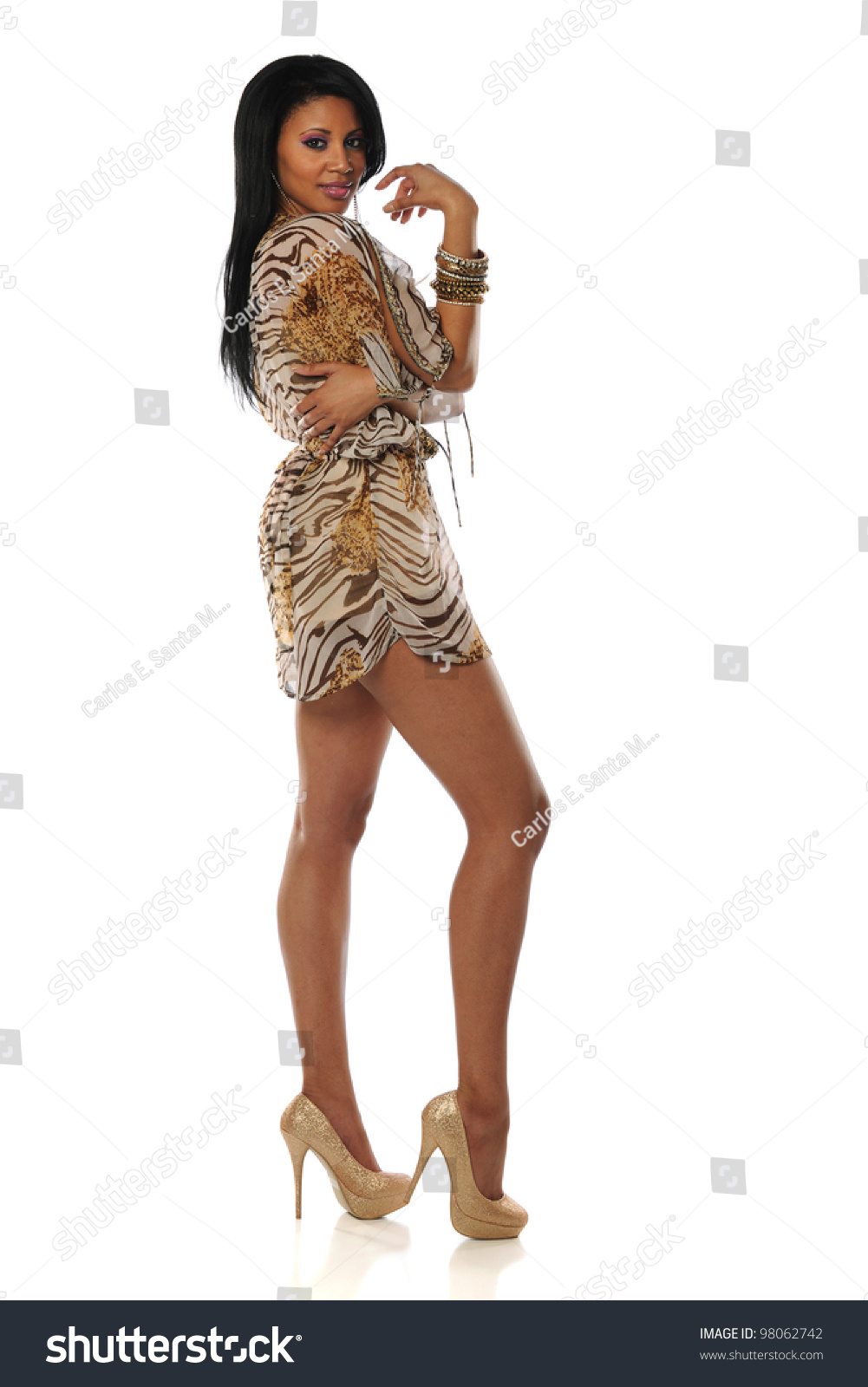 Beautiful African American Woman Wearing Short Stock Photo ...