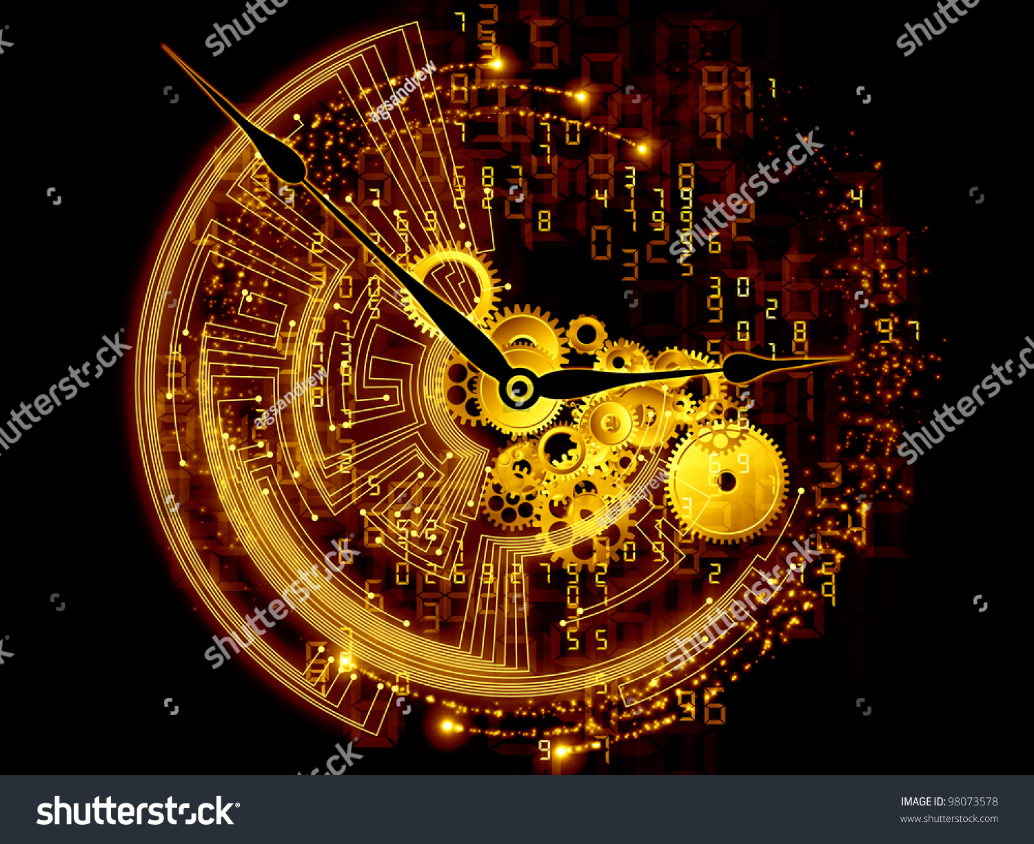 Circuit Boards With Clock Hands Royalty Free Stock Image Composition Gears Abstract Design Illustration Of And Elements As A Concept Metaphor On Subject