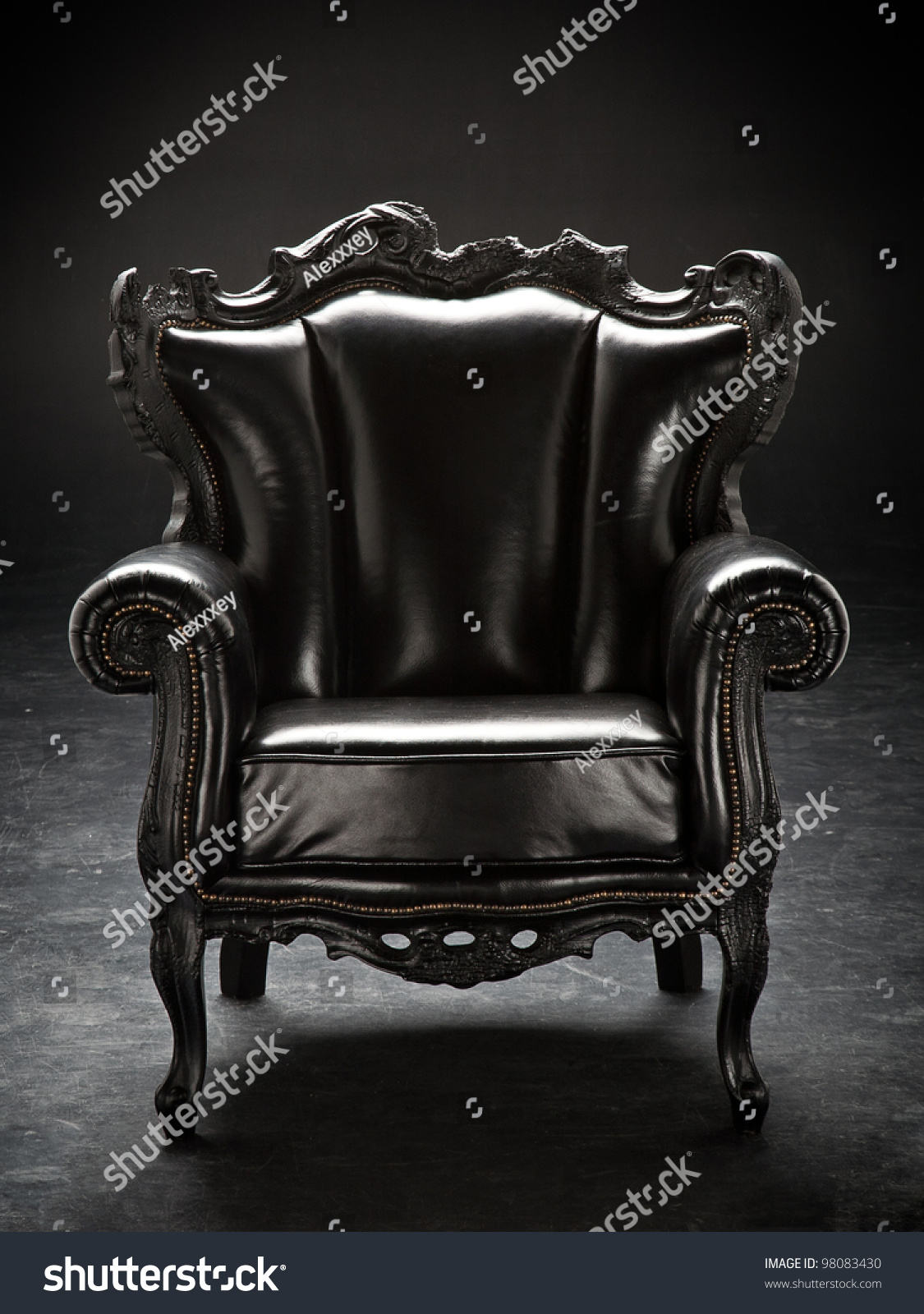 Old Black Chair Upholstered Leather Isolated Stock Photo