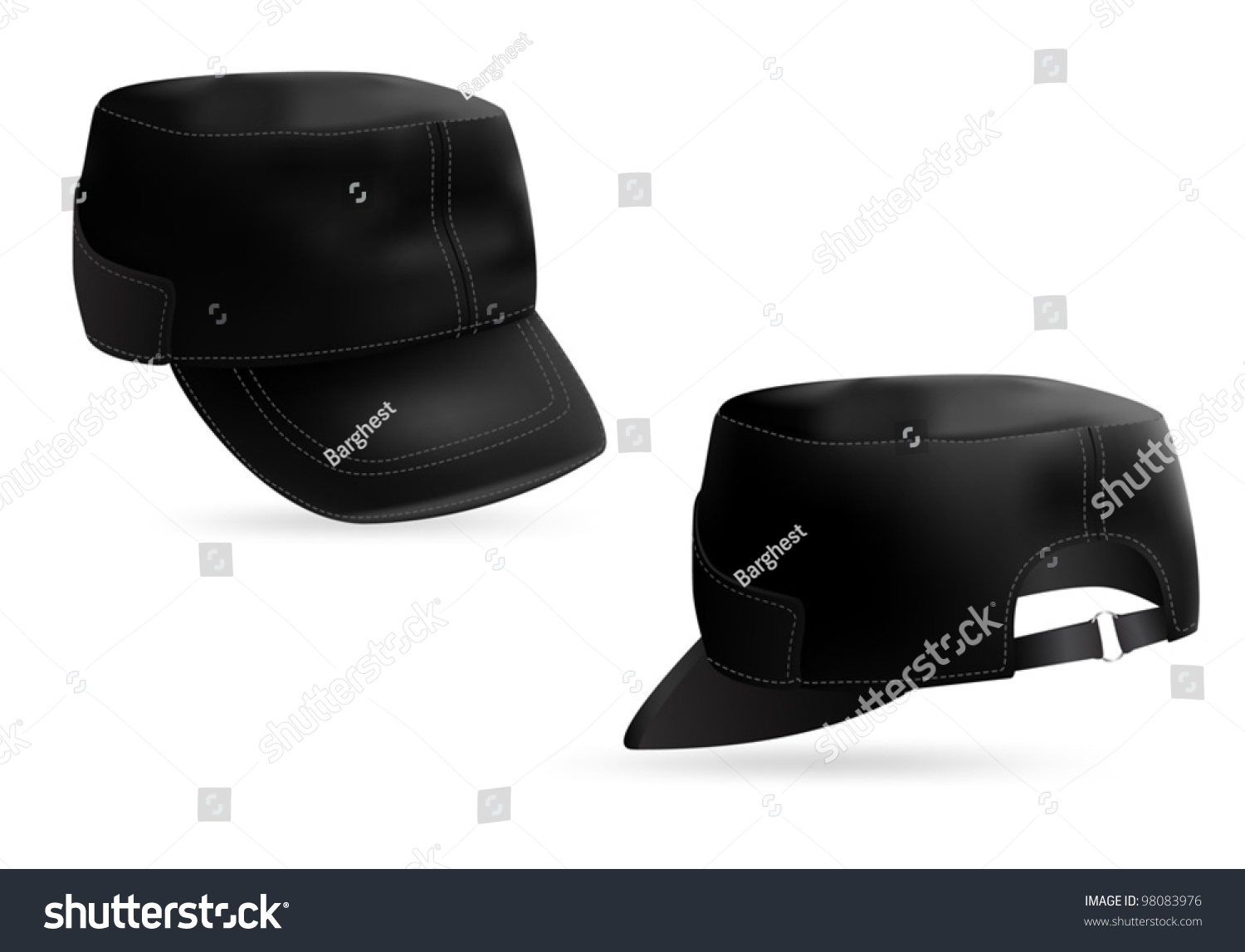 Pleasant Military Style Black Cap Blank Template Front And Rear Views Largest Home Design Picture Inspirations Pitcheantrous
