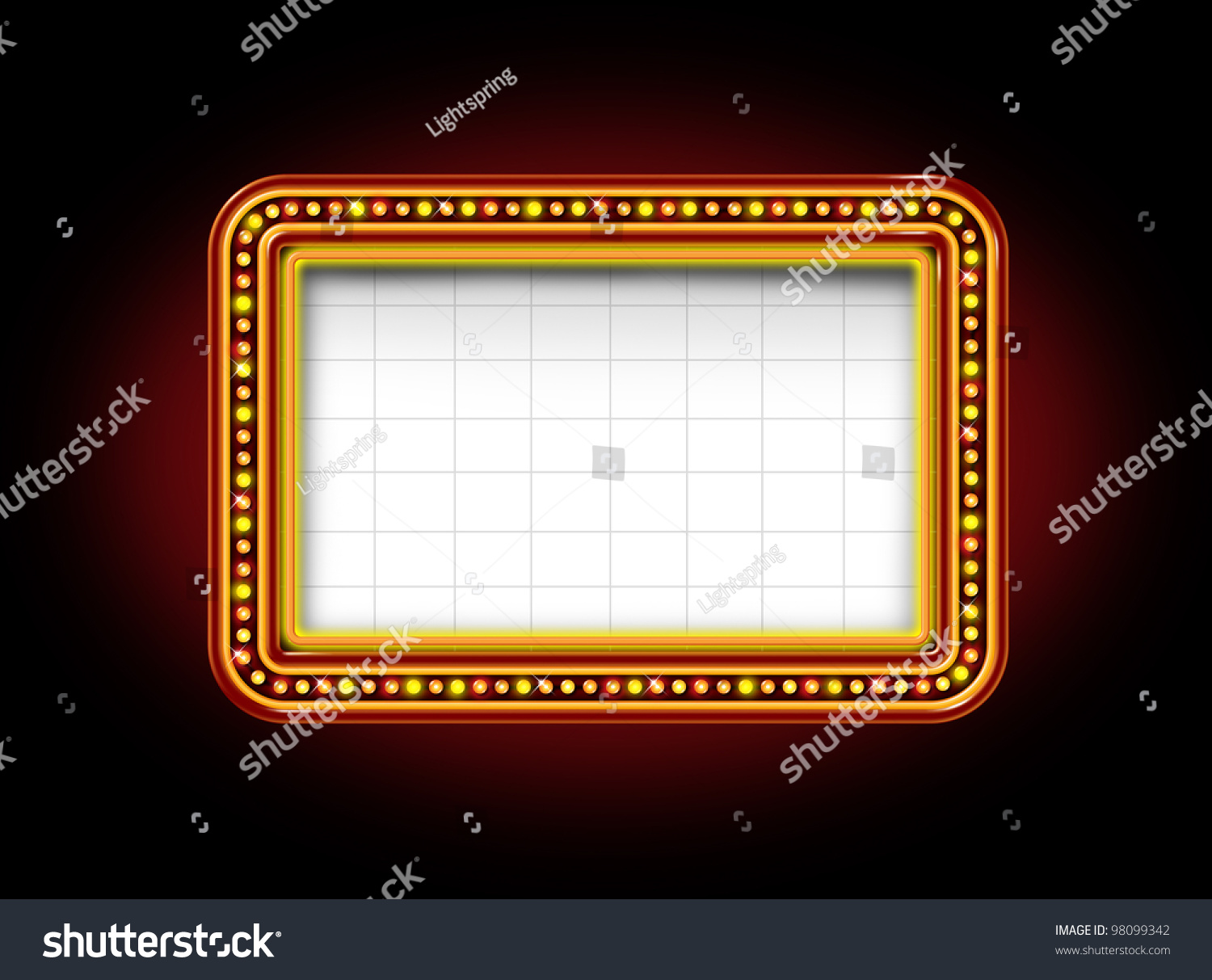 Theater Marquee Blank Neon Lights Sign Stock Illustration ...