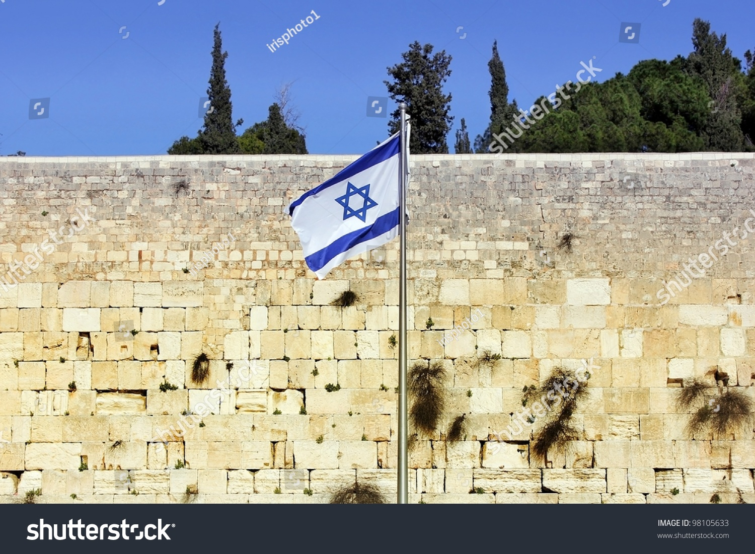 Israeli Flag Western Wall Jerusalem Israel Stock Photo (Edit Now ...