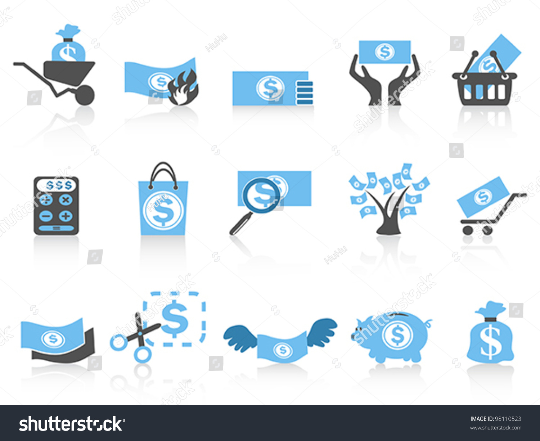 Simple Money Icon Blue...