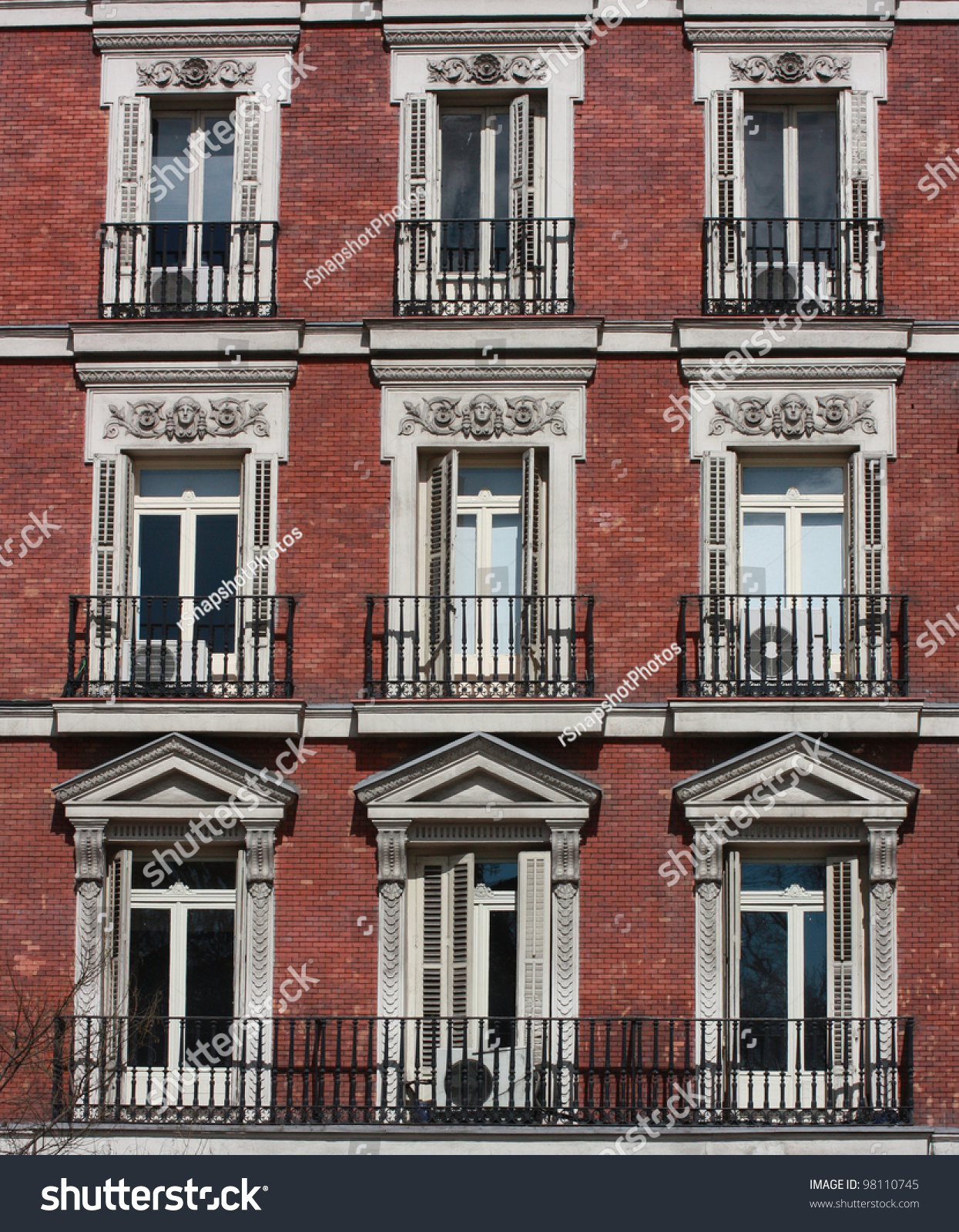 Gothic Neo Classical Style Windows Brick Stock Photo 98110745 Gothic Neo  Classical Style Windows Brick Apartment Building In Madrid Spain  EuropeBrick ...