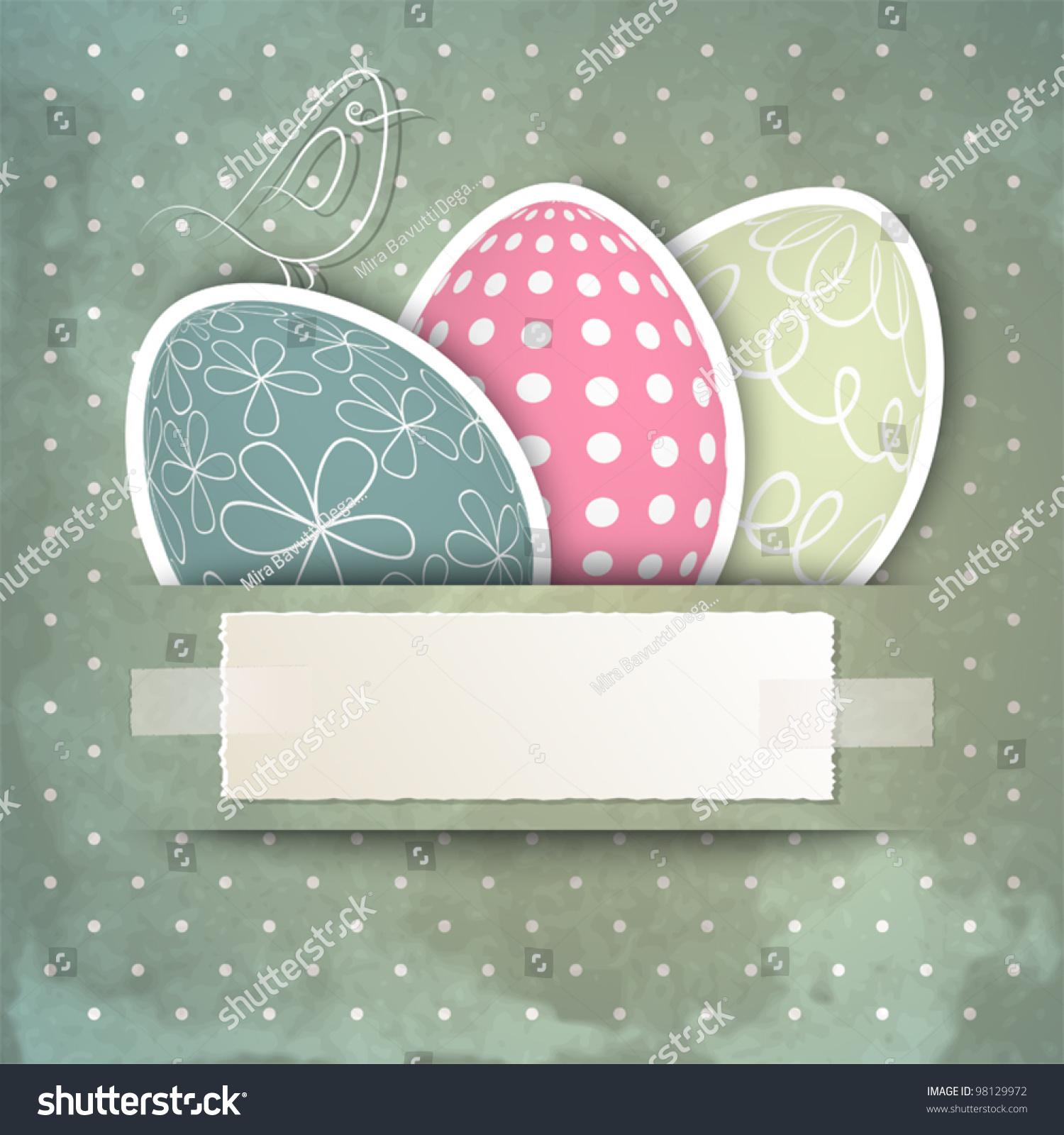 Template Happy Easter Card Eggs Bird Vector 98129972 – Sample Easter Postcard Template
