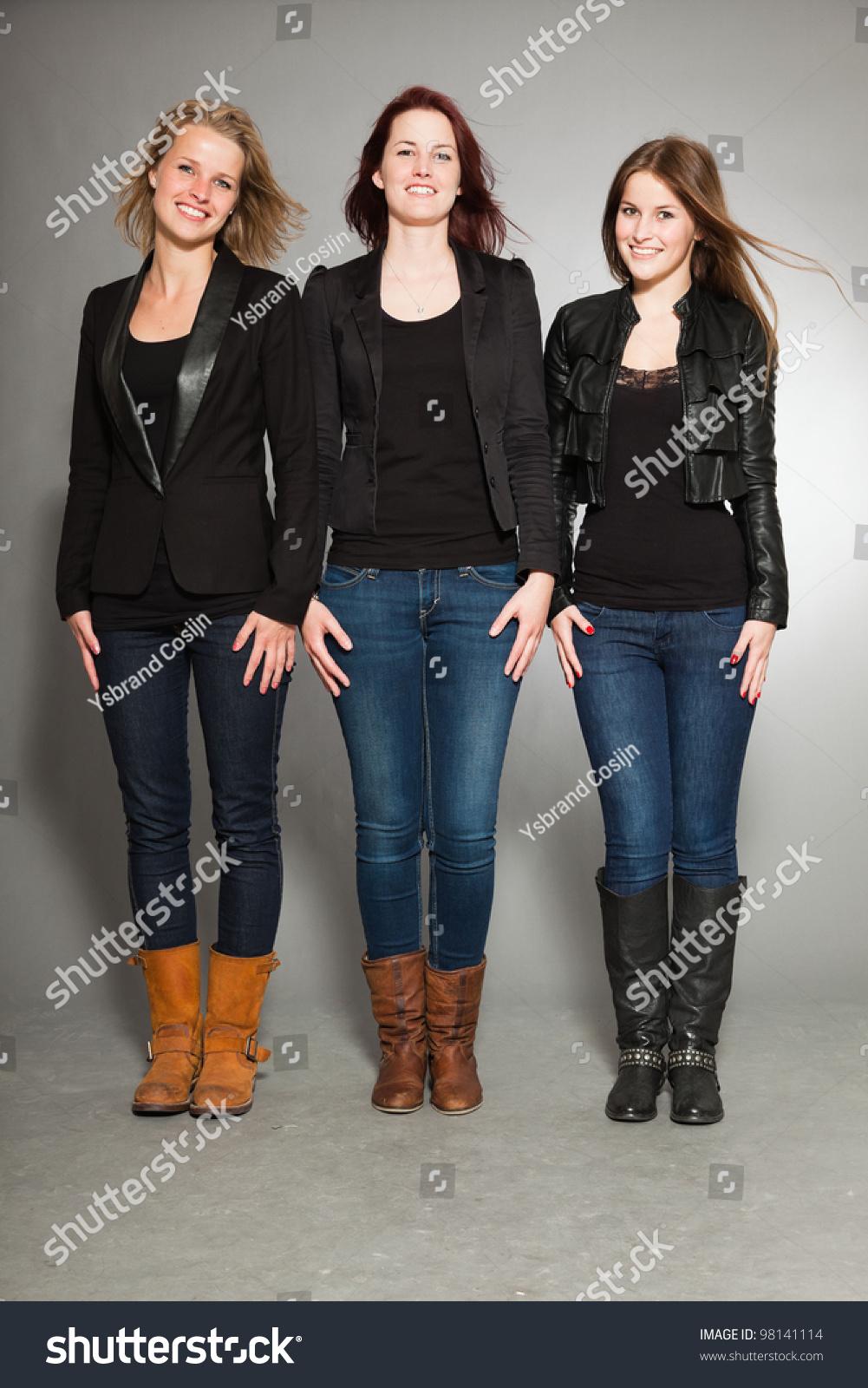 Happy Family Three Sisters Isolated On Stock Photo