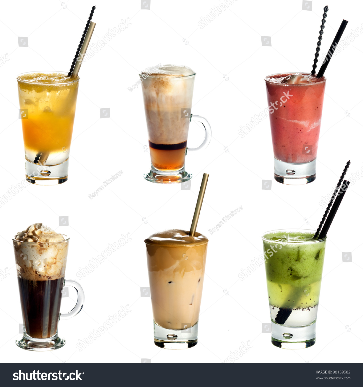 Collection Non Alcoholic Cocktails Drinks Isolated Stock