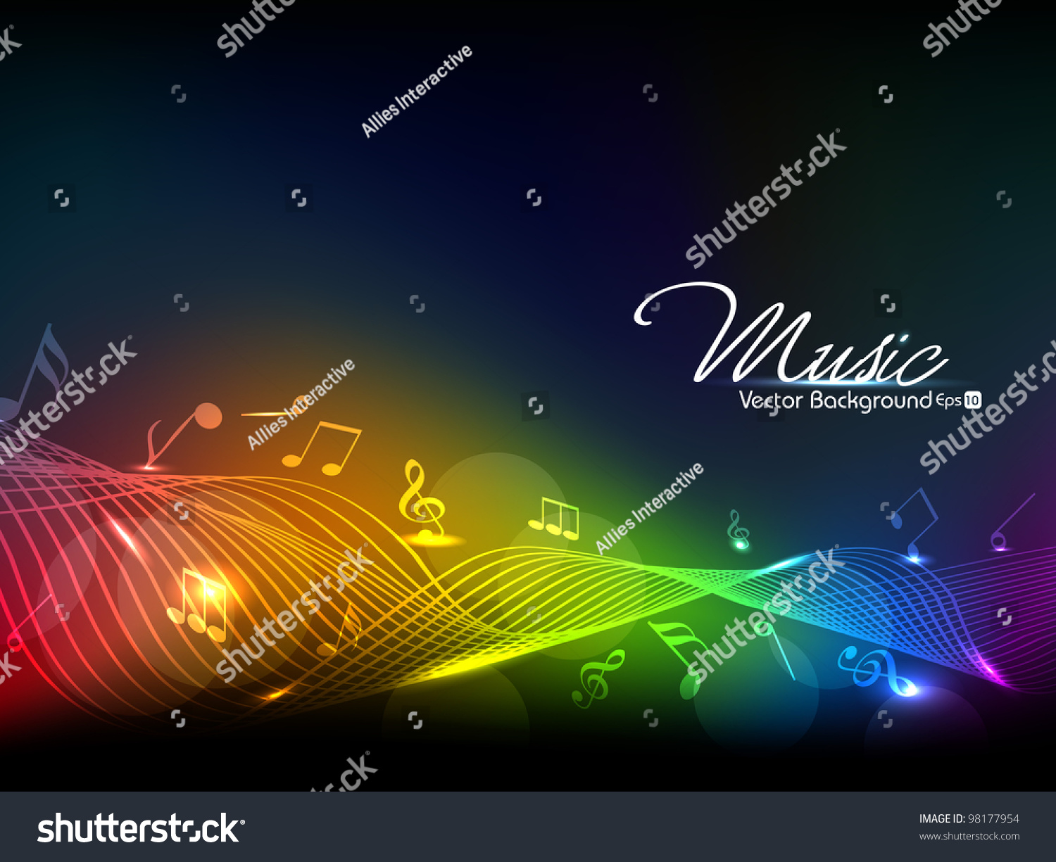 Vector Illustration Of Colorful Musical Wave Background