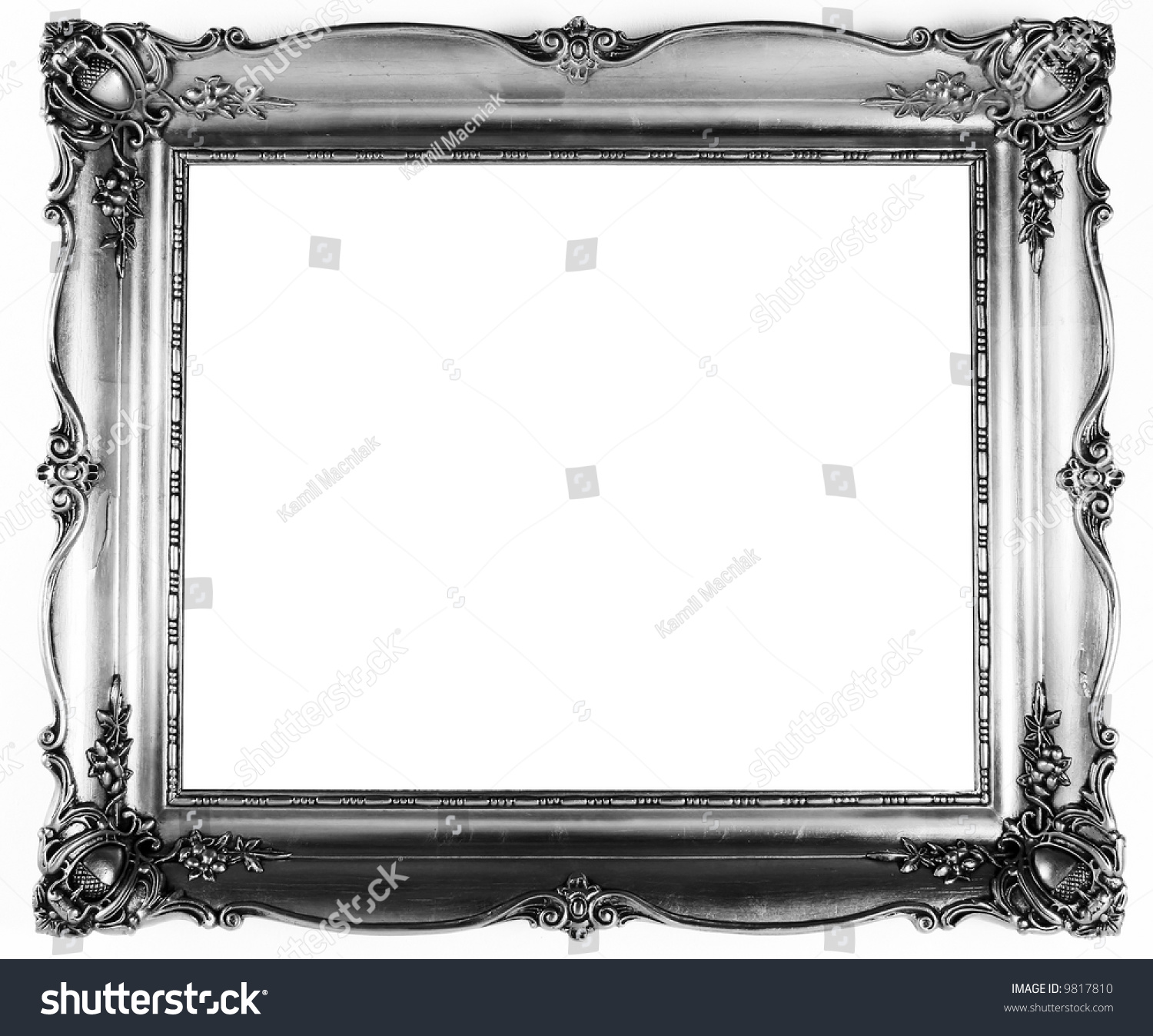 Old Antique Silver Frame Over White Stock Photo 9817810