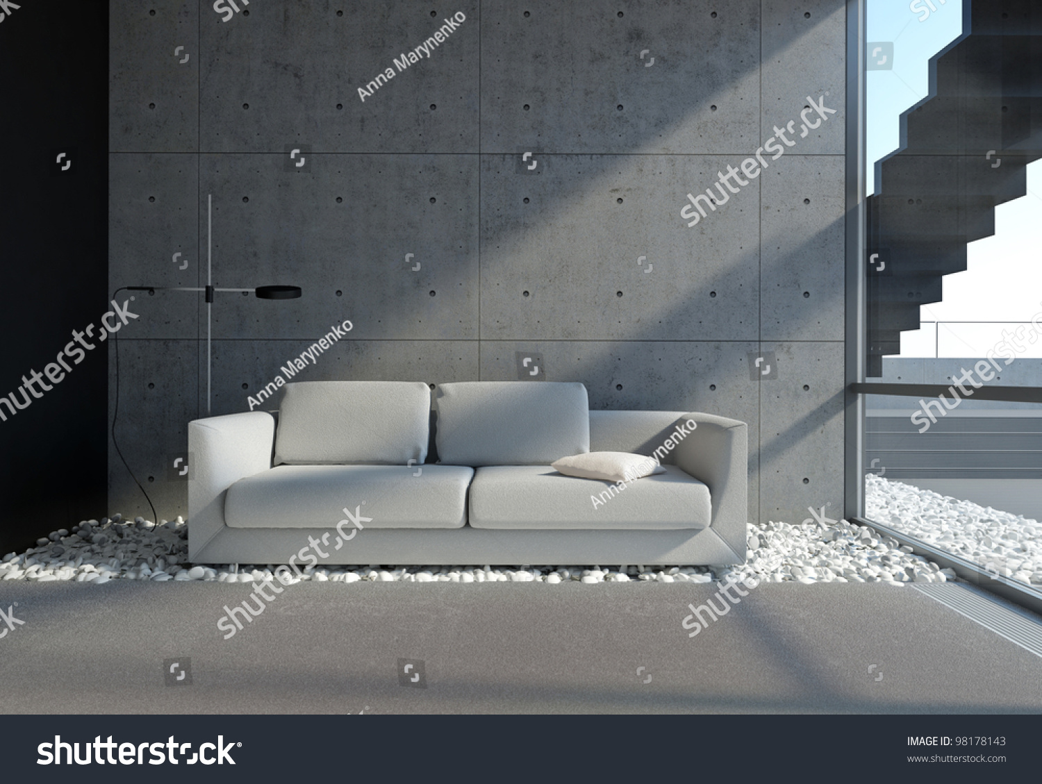 Contemporary living room with concrete wall and pebble onthe floor stock photo 98178143 - Beton muu room in ...