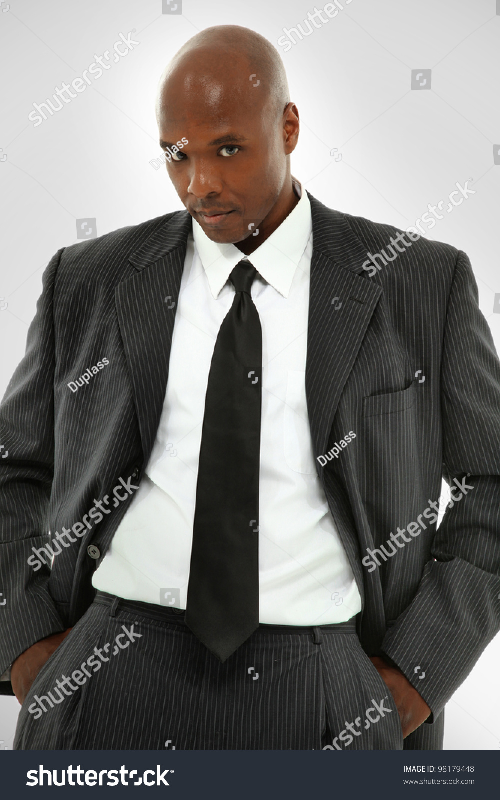 Attractive Black Male Model Suit Looking Stock Photo 98179448 ...