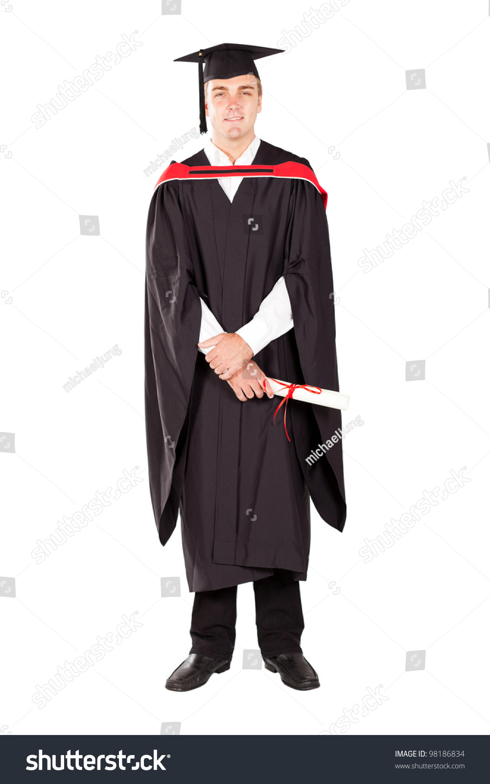 Young Male Graduate Cap Gown Full Stock Photo (Royalty Free ...
