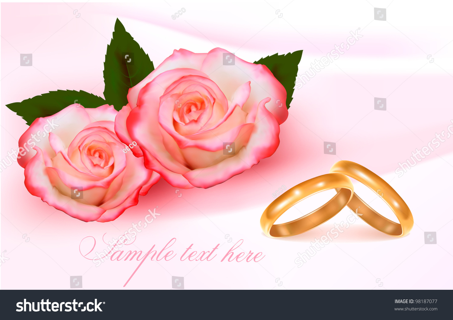 Gold Wedding Rings Pink Roses Vector Stock Vector 98187077 ...