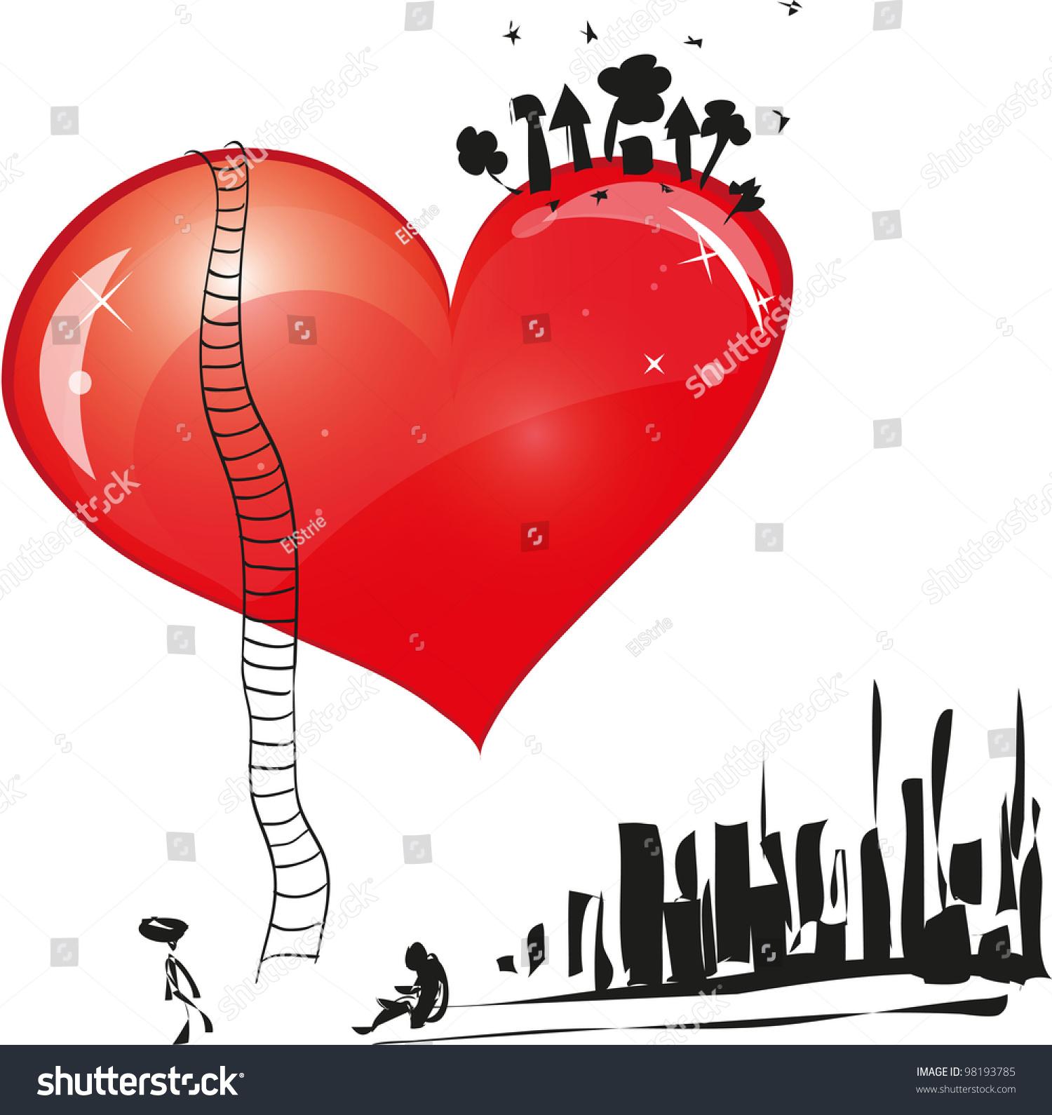 Symbol Love Large Heart On Him Stock Illustration 98193785