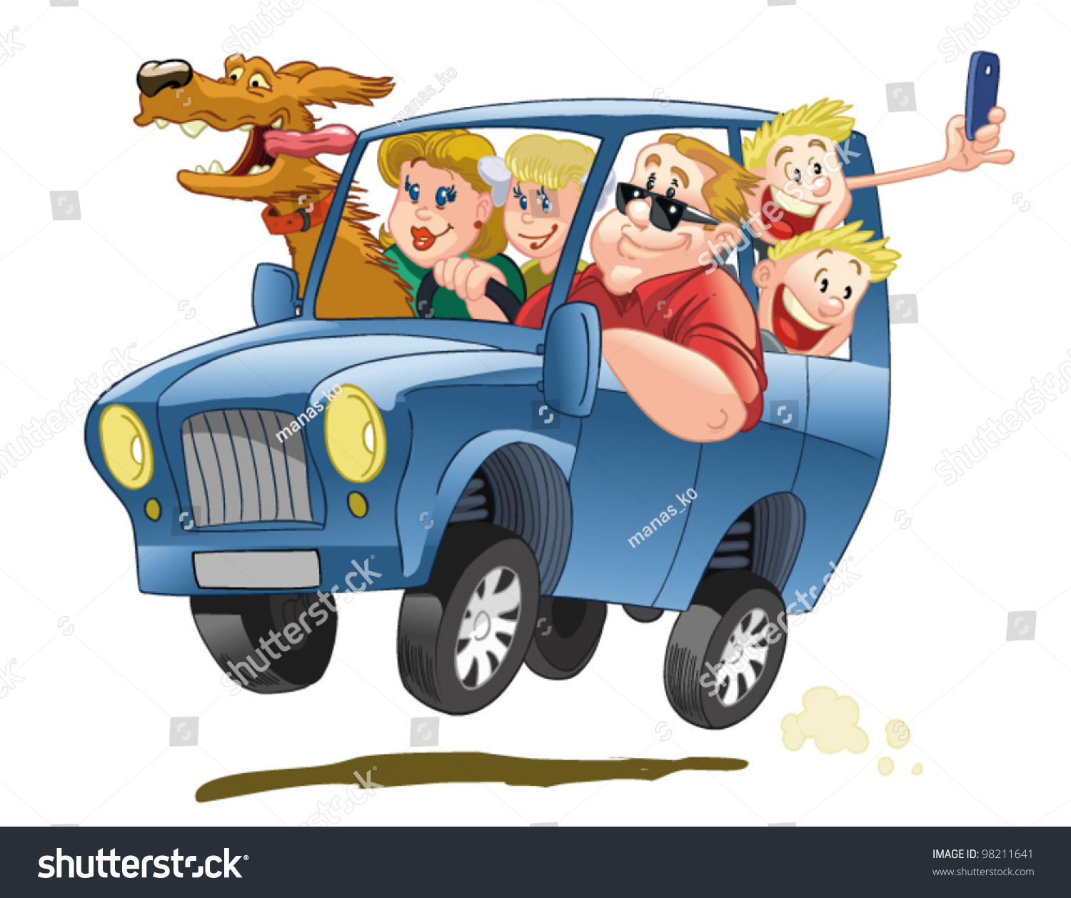 Happy Big Family Traveling Blue Suv Stock Vector 98211641