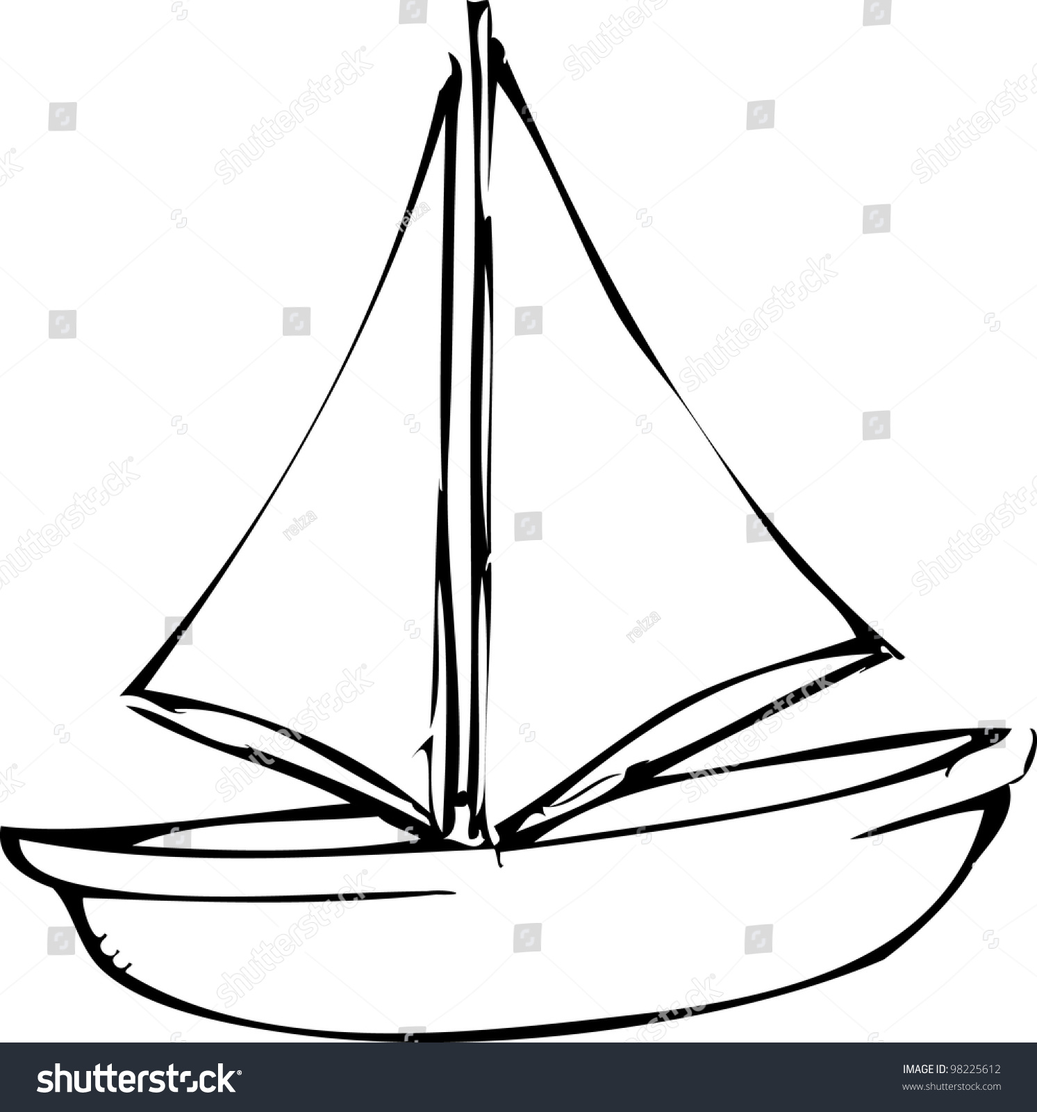 Simple Hand Drawing Sailing Boat Stock Vector 98225612 ...