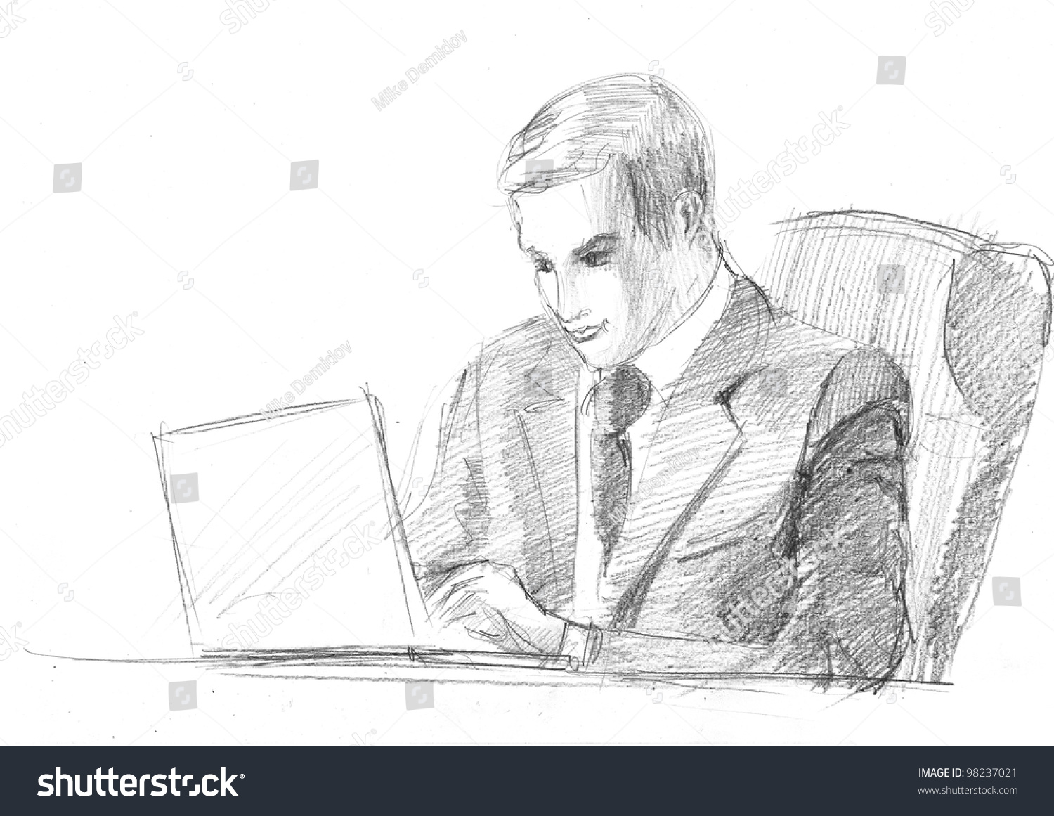 Pencil drawing manager front computer stock illustration 98237021