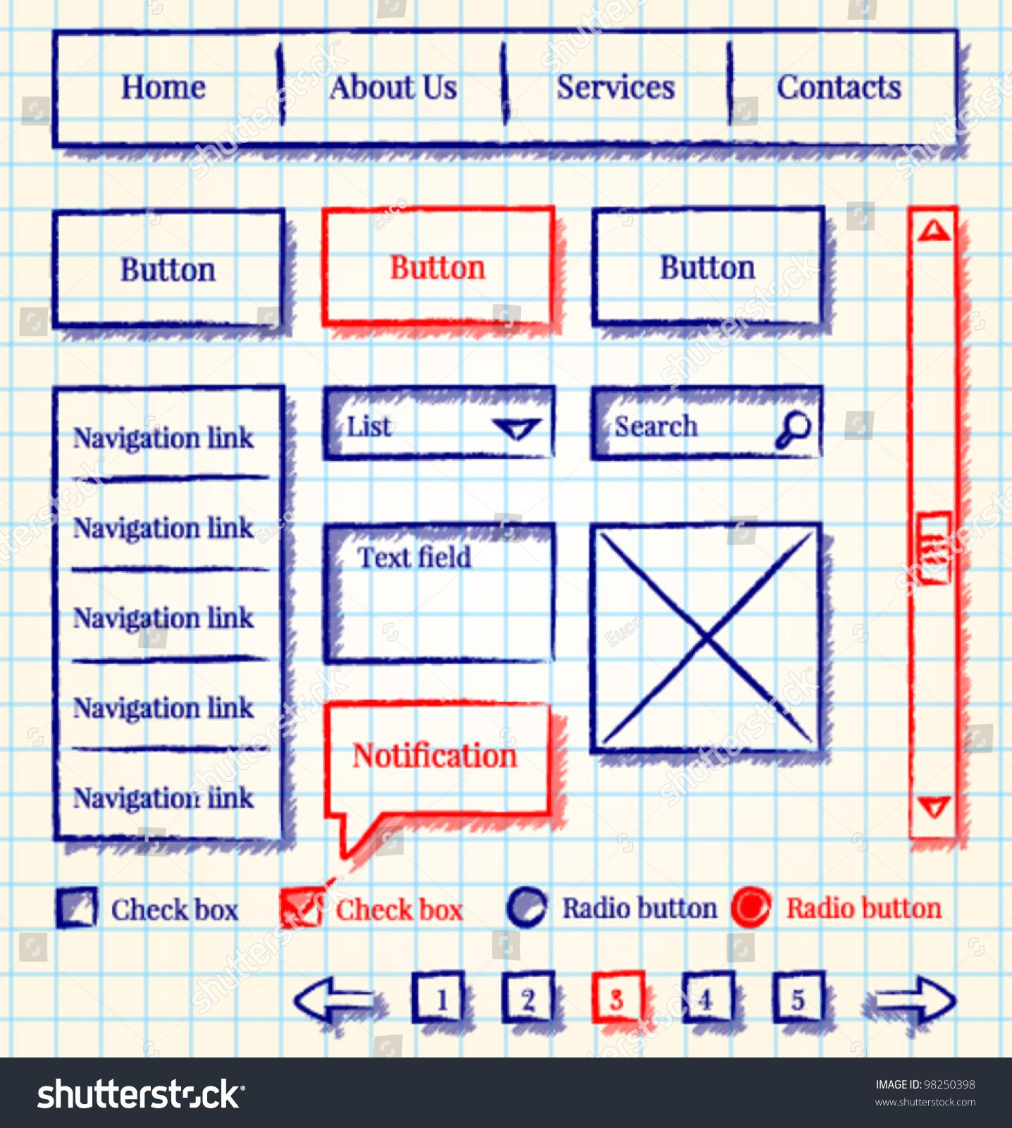 Website Template Design Sketch Stock Vector 98250398 - Shutterstock