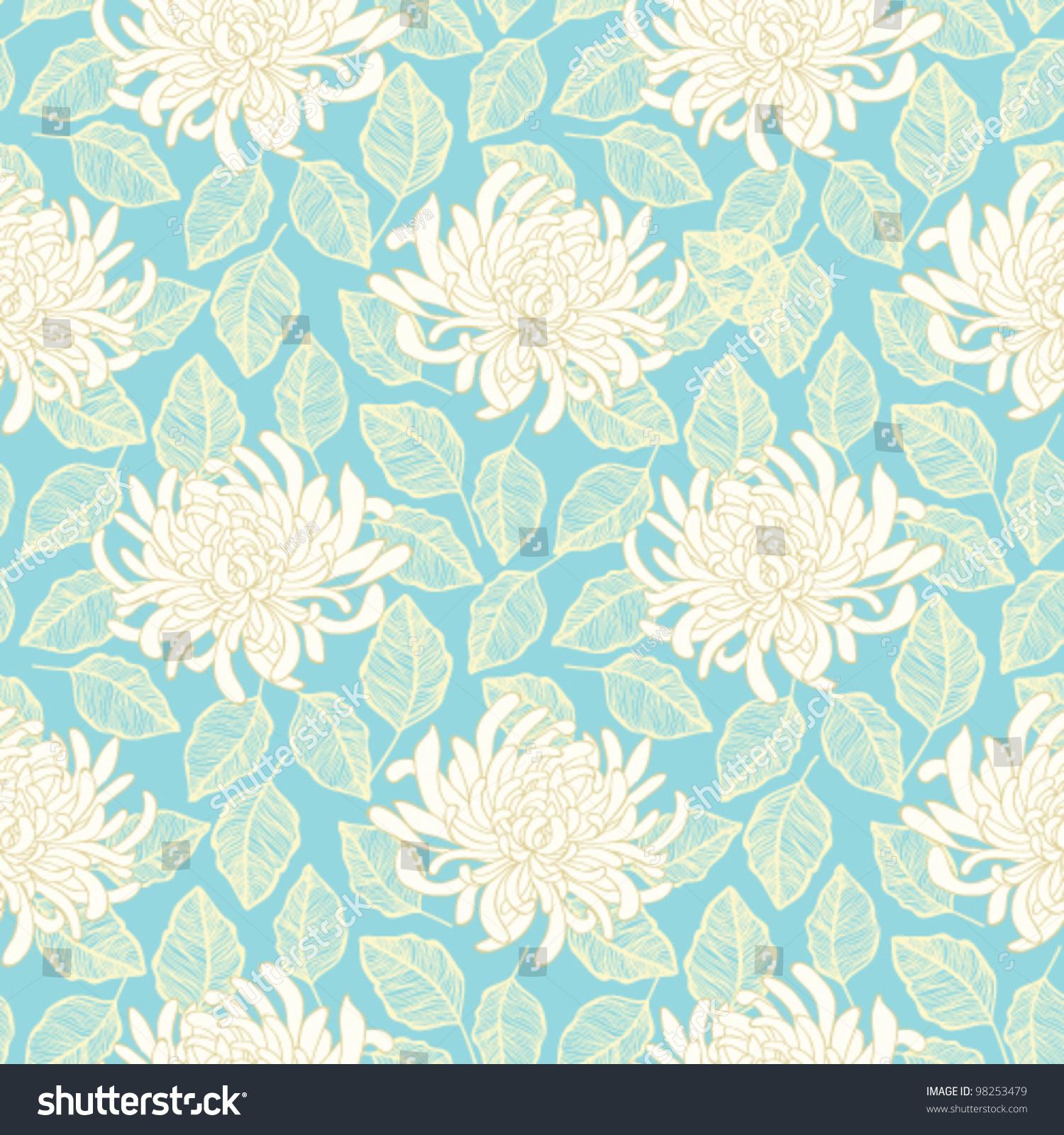 Pink floral seamless vector background floral hrysanthemum seamless - Seamless Vector Chrysanthemum Flower Pattern Floral Wallpaper Design