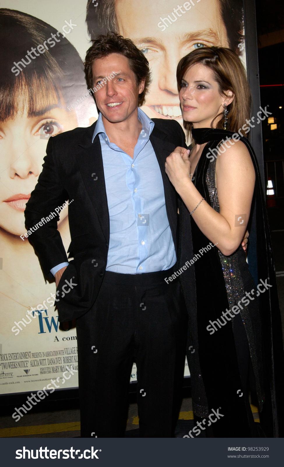 Actor Hugh Grant Actress Sandra Bullock Stock Photo