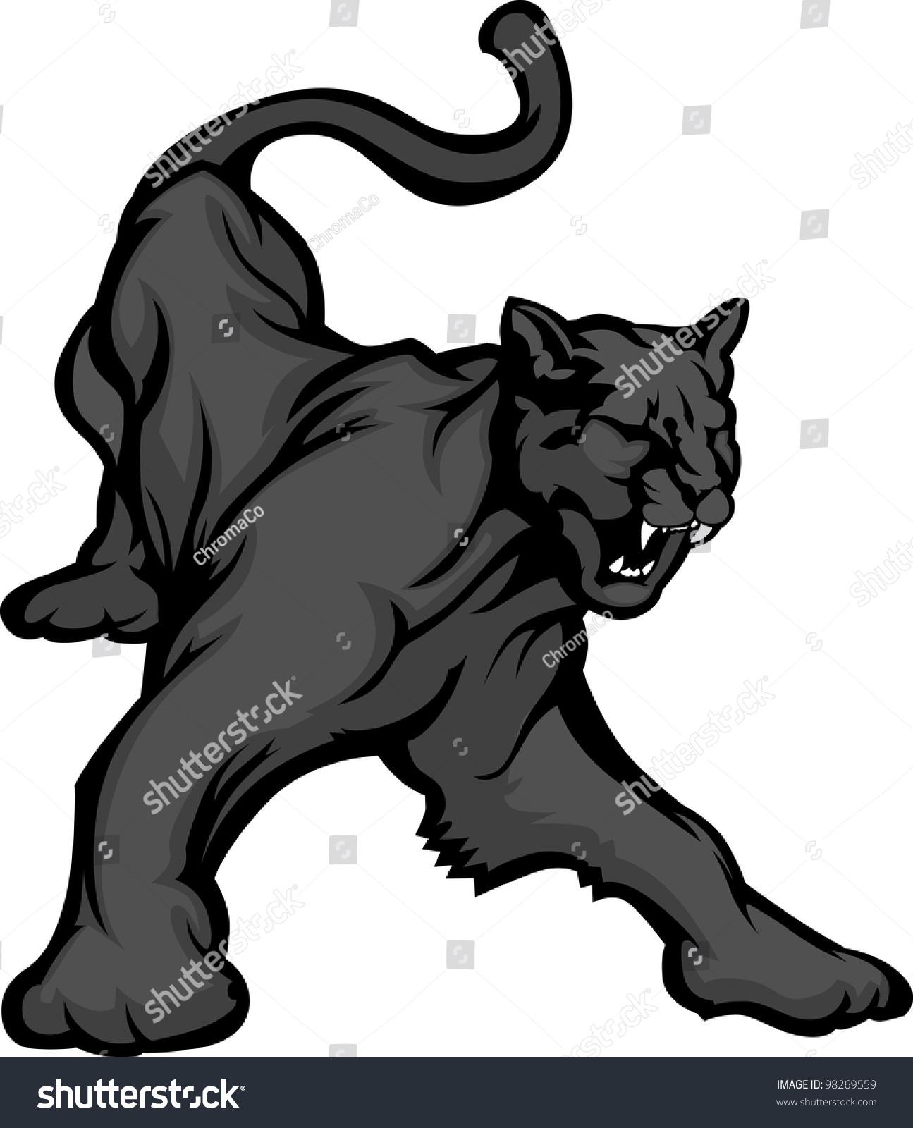 Black Jaguar Growl: Graphic Mascot Vector Image Black Panther Stock Vector