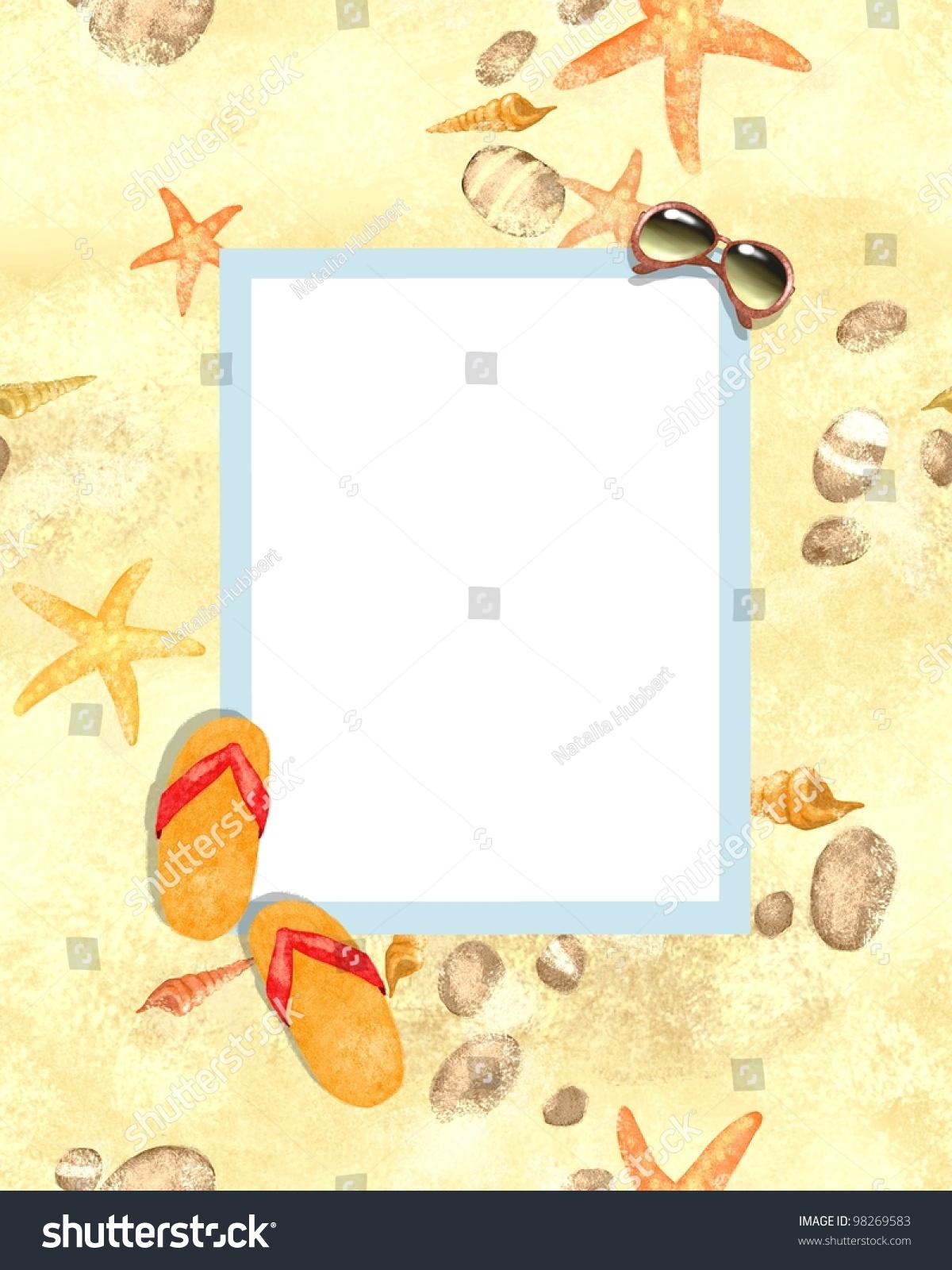 Summer Beach Background Beach Party Invitation Stock Illustration