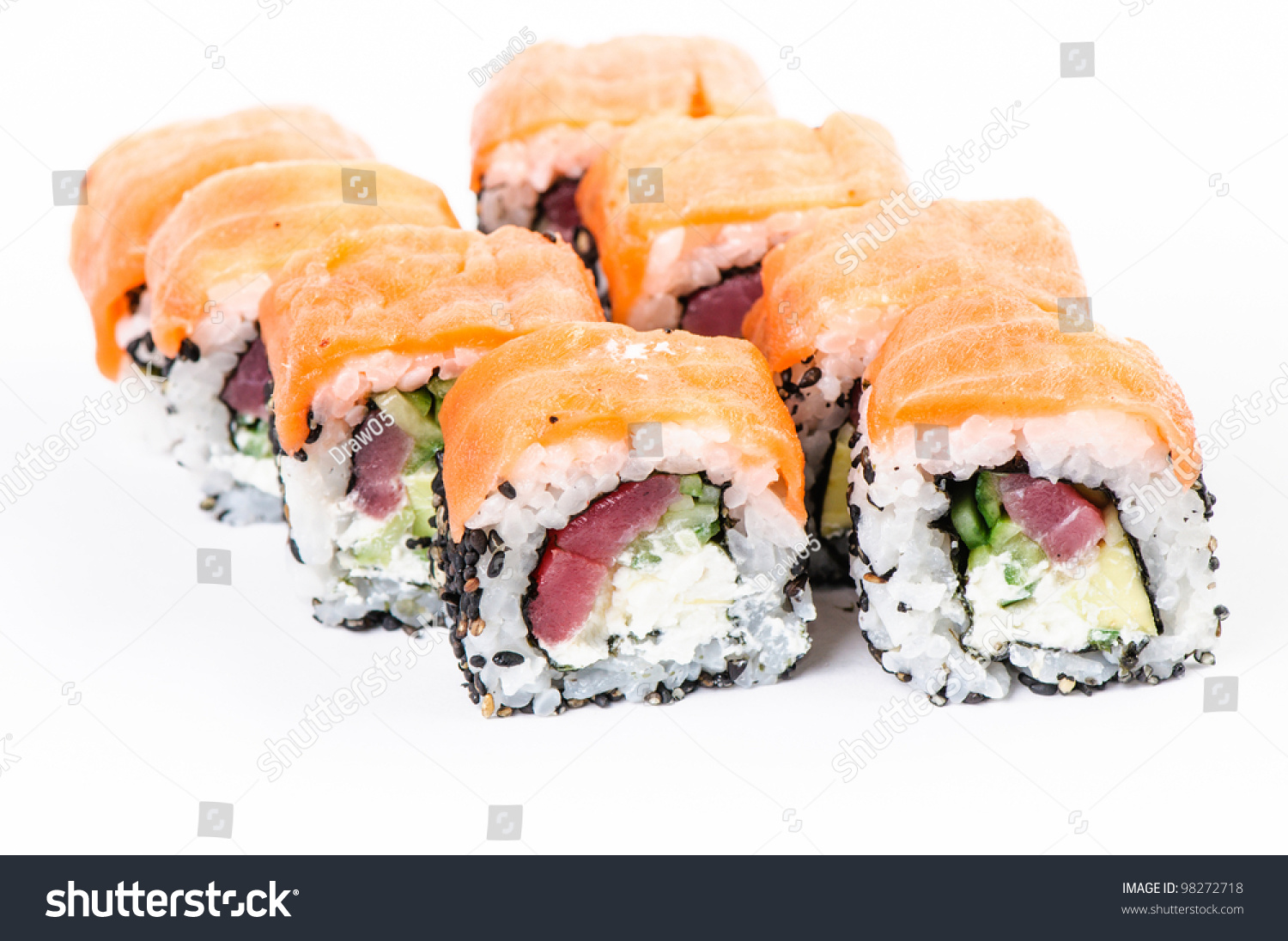 Sushi fish green caviar on white stock photo 98272718 for Fish for sushi
