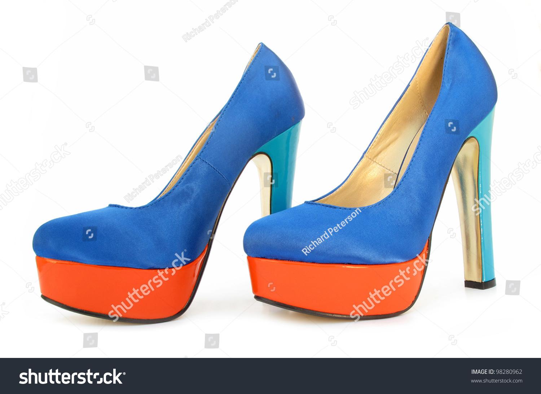 Blue Orange High Heels Pump Shoes Stock Photo 98280962 : Shutterstock