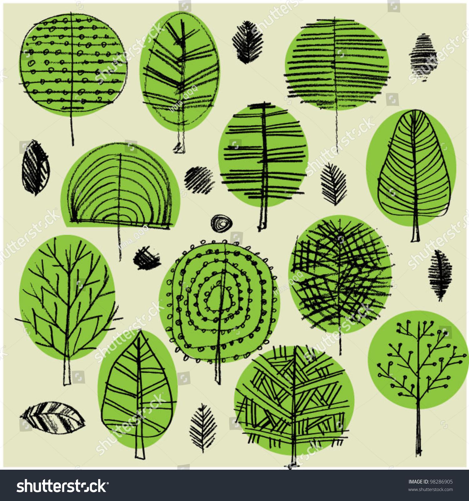Art Sketching Set Vector Trees Symbols Stock Vector