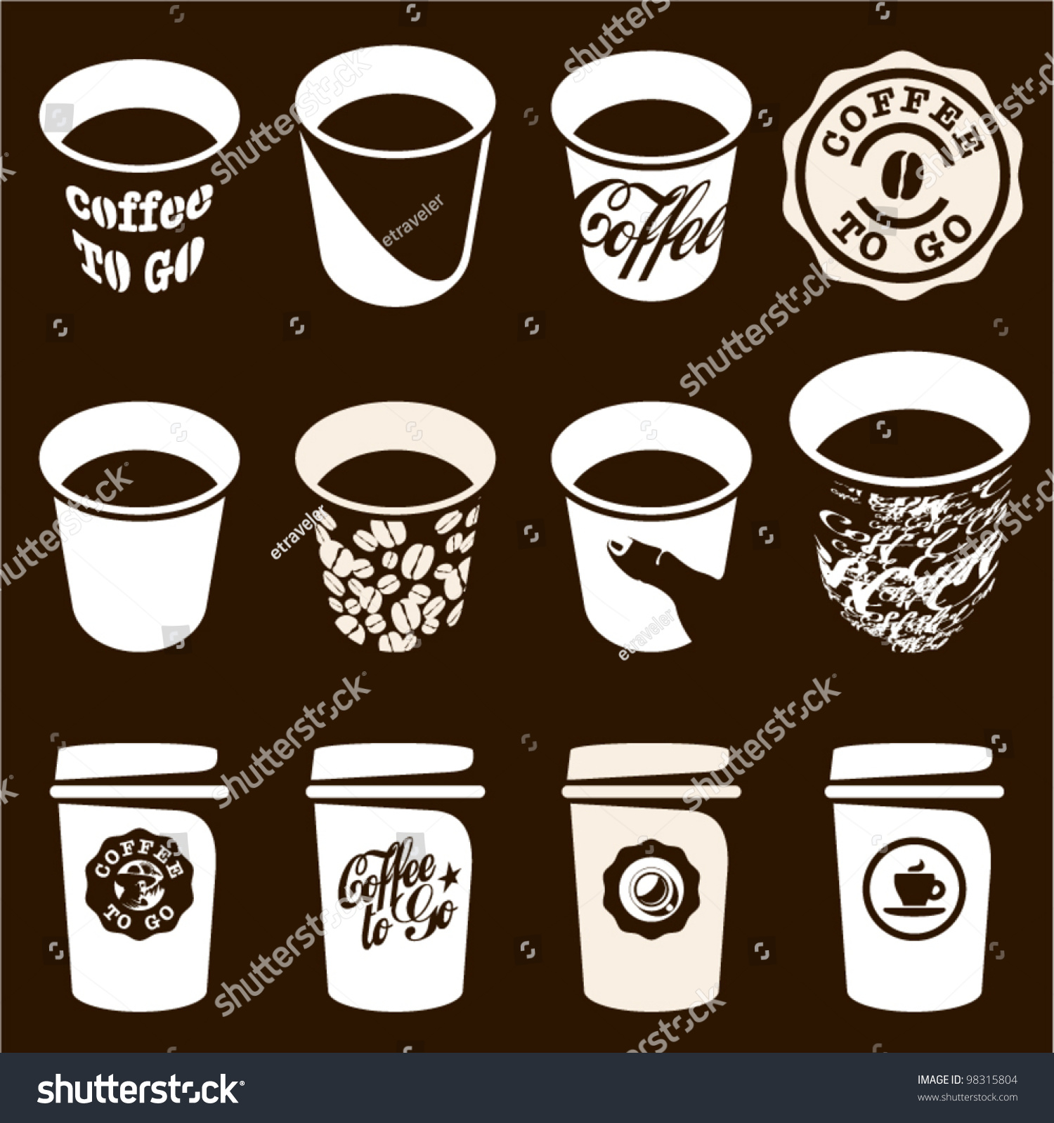 Coffee cup vector free - Coffee To Go Cup Set Coffee Cup Vector Sign Icons Coffee Labels And