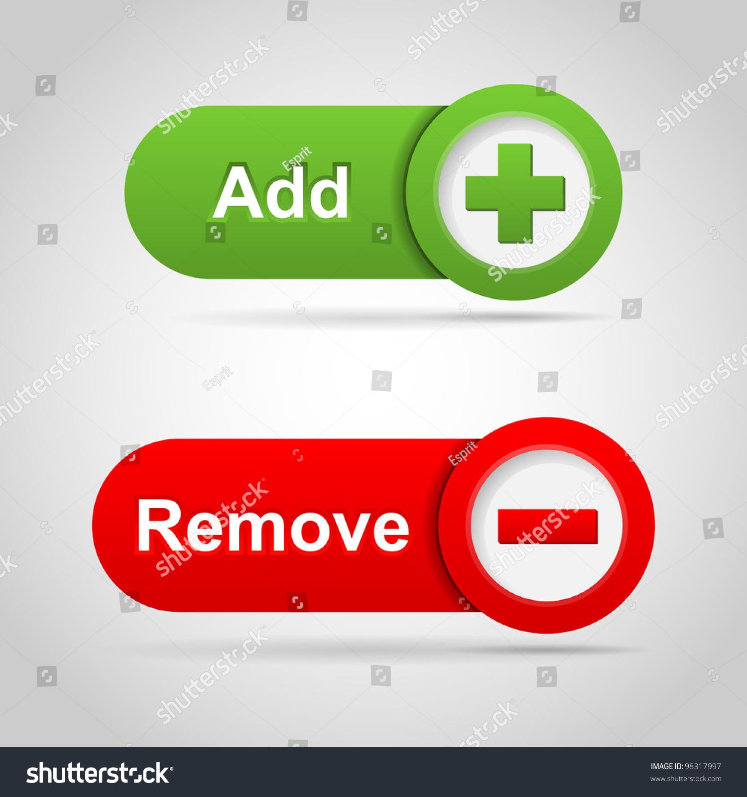 web add and remove icon vector 98317997 shutterstock. Black Bedroom Furniture Sets. Home Design Ideas