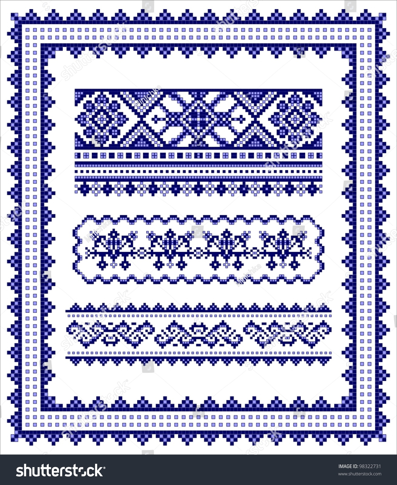 ethnic cross stitch frame and borders pattern