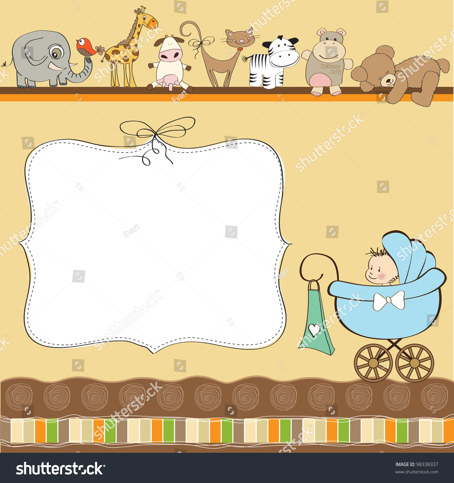 New Baby Boy Announcement Card Pram Vector 98338337 – New Baby Boy Announcement