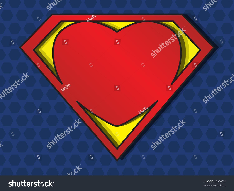 Big Red Heart Shaped Like Superhero Stock Vector Royalty Free