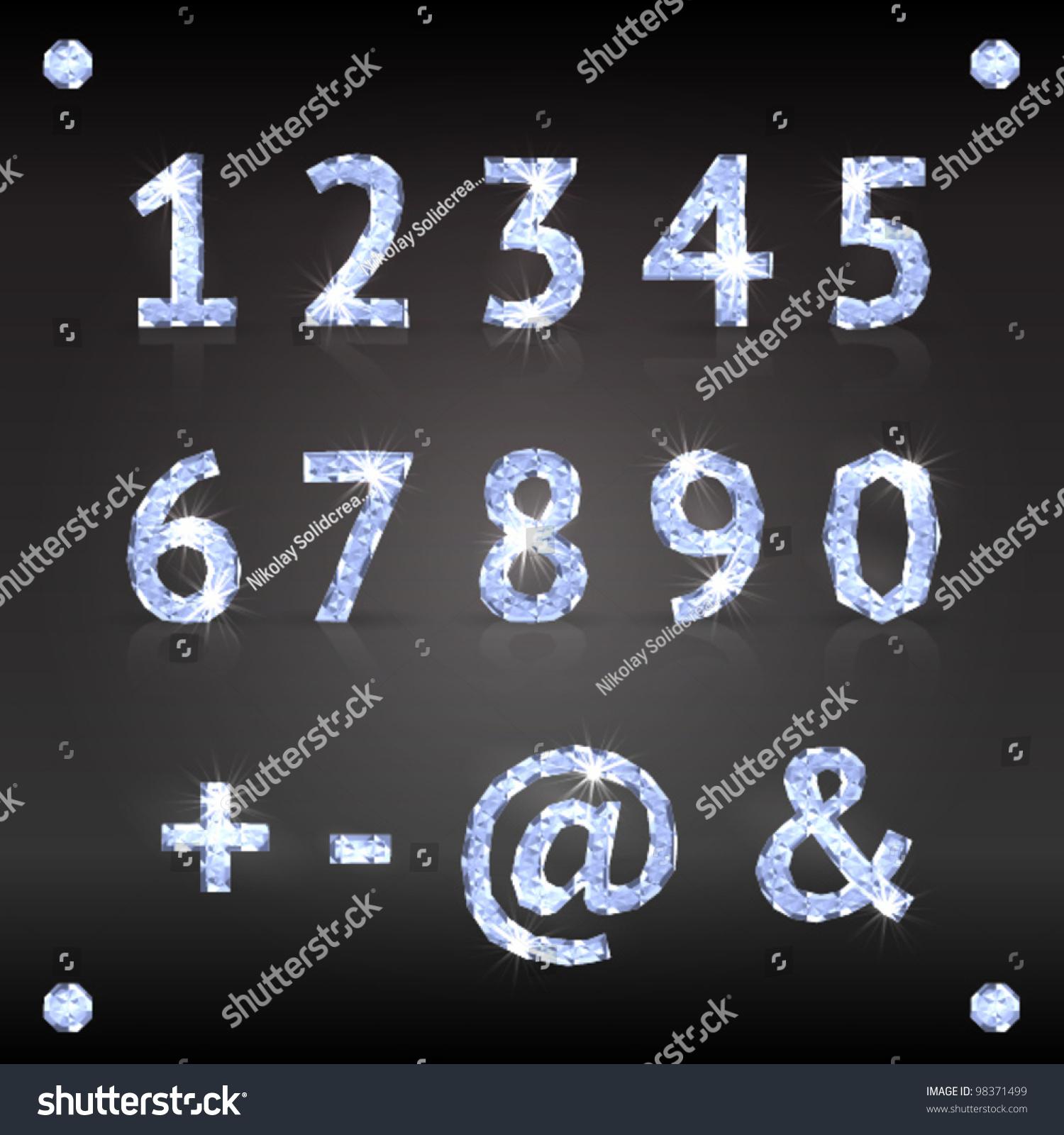 Stock vektory na téma Glamour Style Blue Diamond Numbers (bez ... 2c6a4bebb9