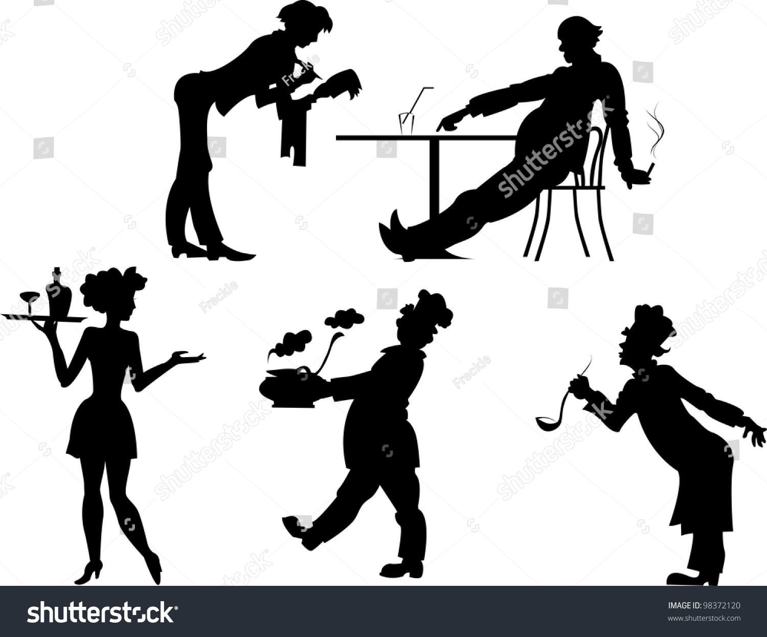 Restaurant Background With People Isolated Silhouettes People Restaurant Business On Stock Vector