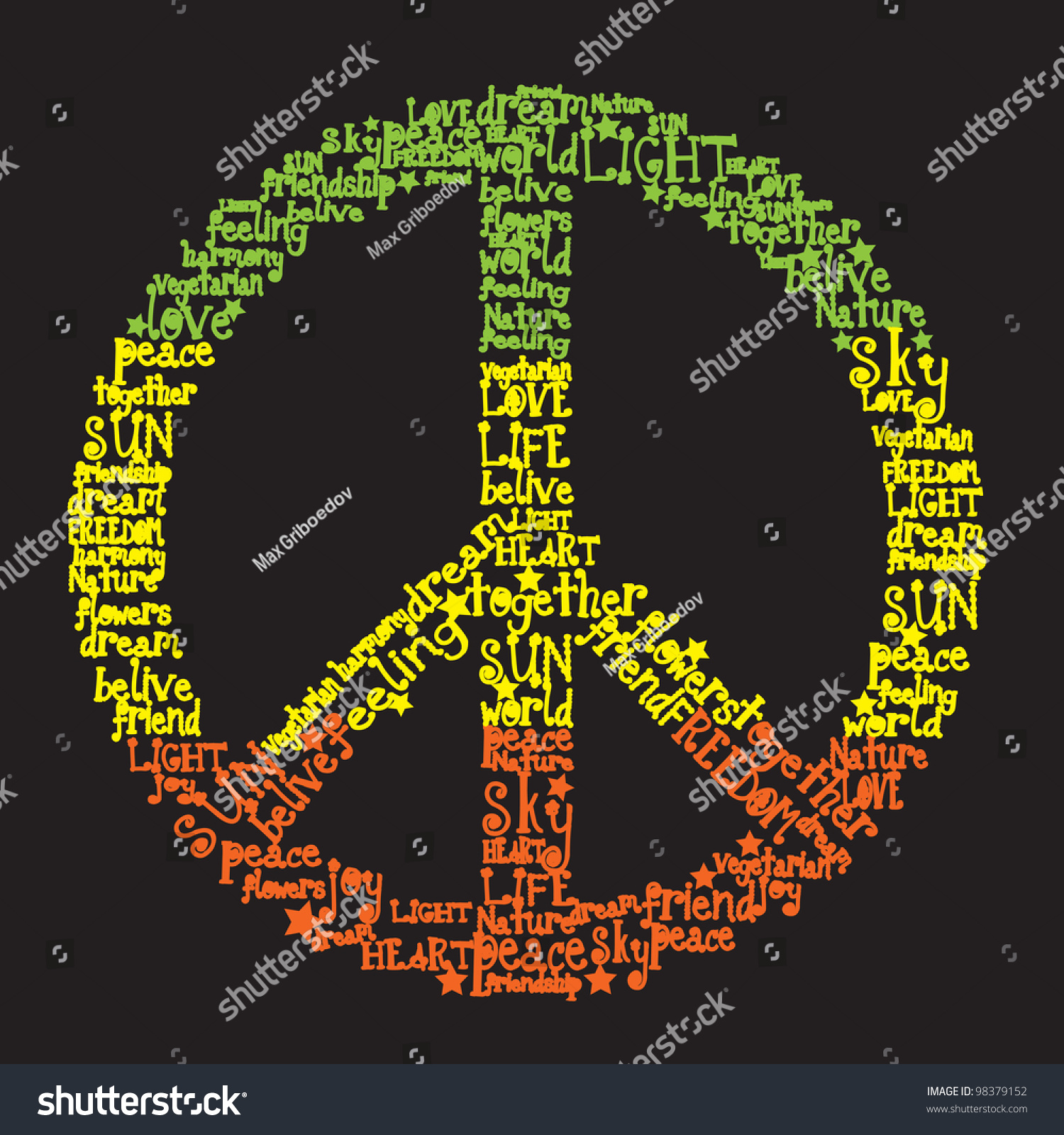 Vector peace symbol made words rasta stock vector 98379152 vector peace symbol made of words in rasta colors biocorpaavc Image collections