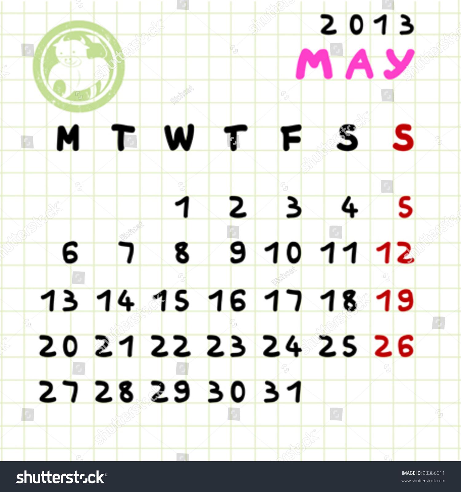 2013 Monthly Calendar May Taurus Zodiac Stock Vector 98386511